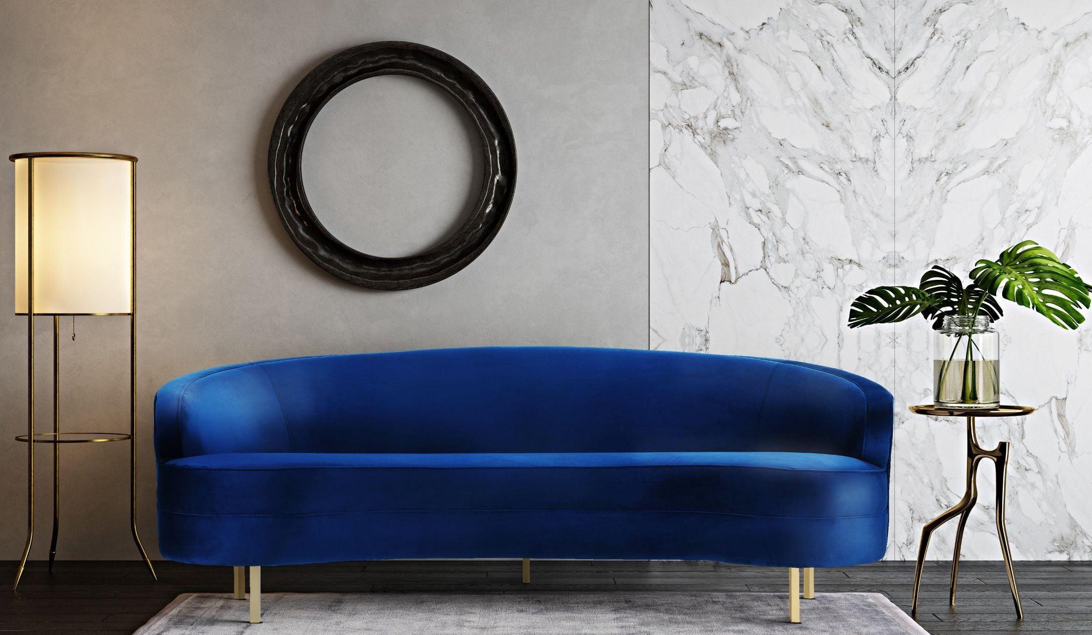 Good Baila Navy Velvet Sofa