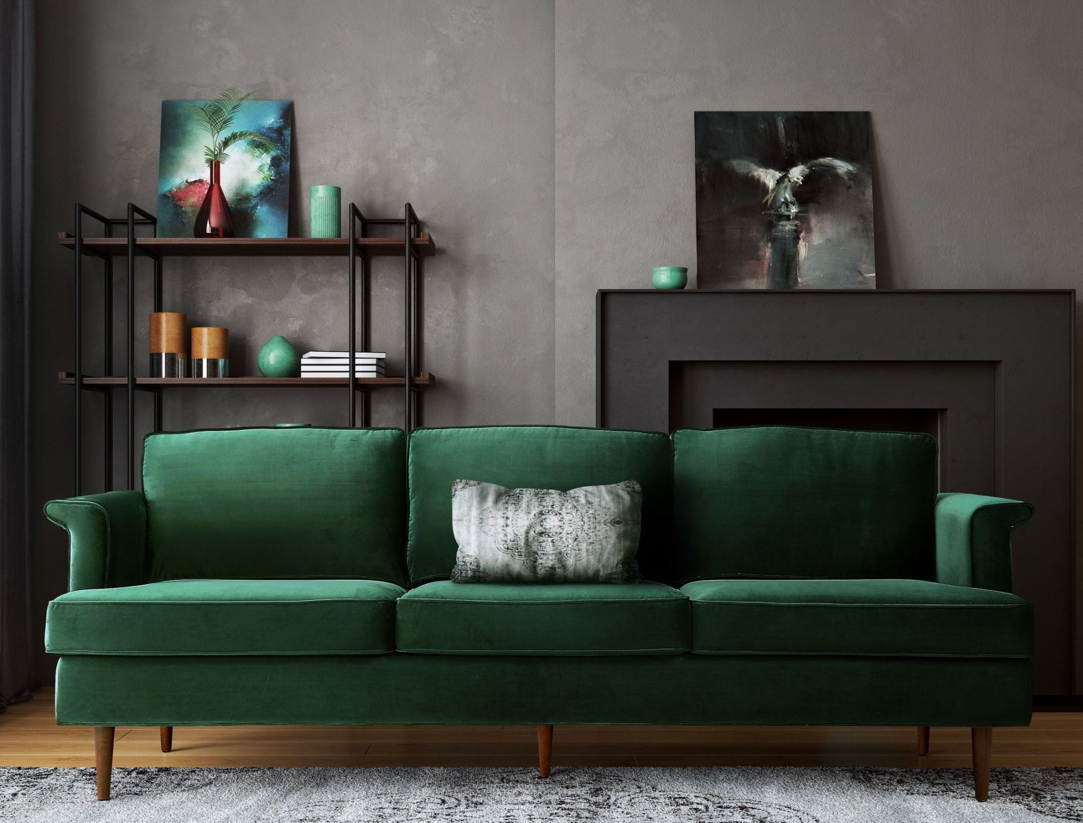 Porter forest green sofa from tov coleman furniture for Forest green living room furniture