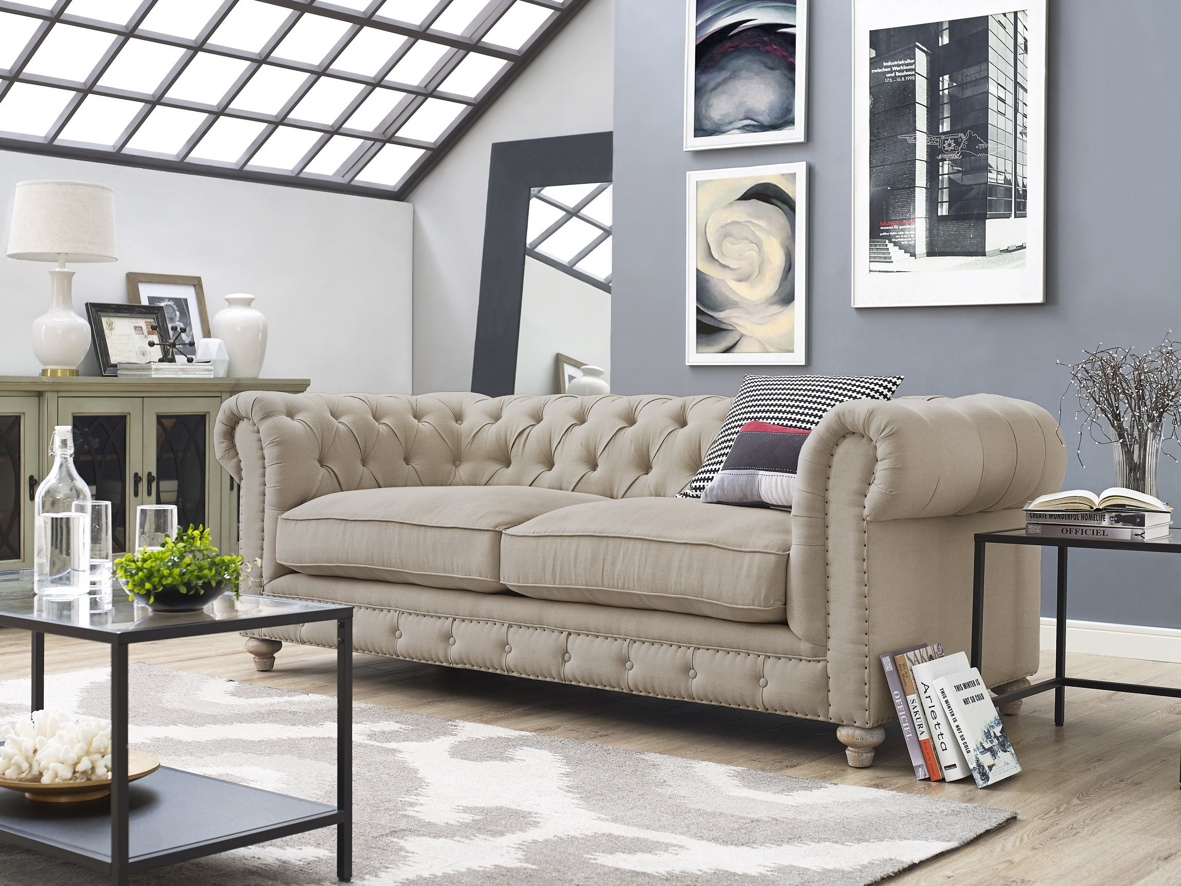 Oxford Beige Linen Sofa from TOV TOV S19