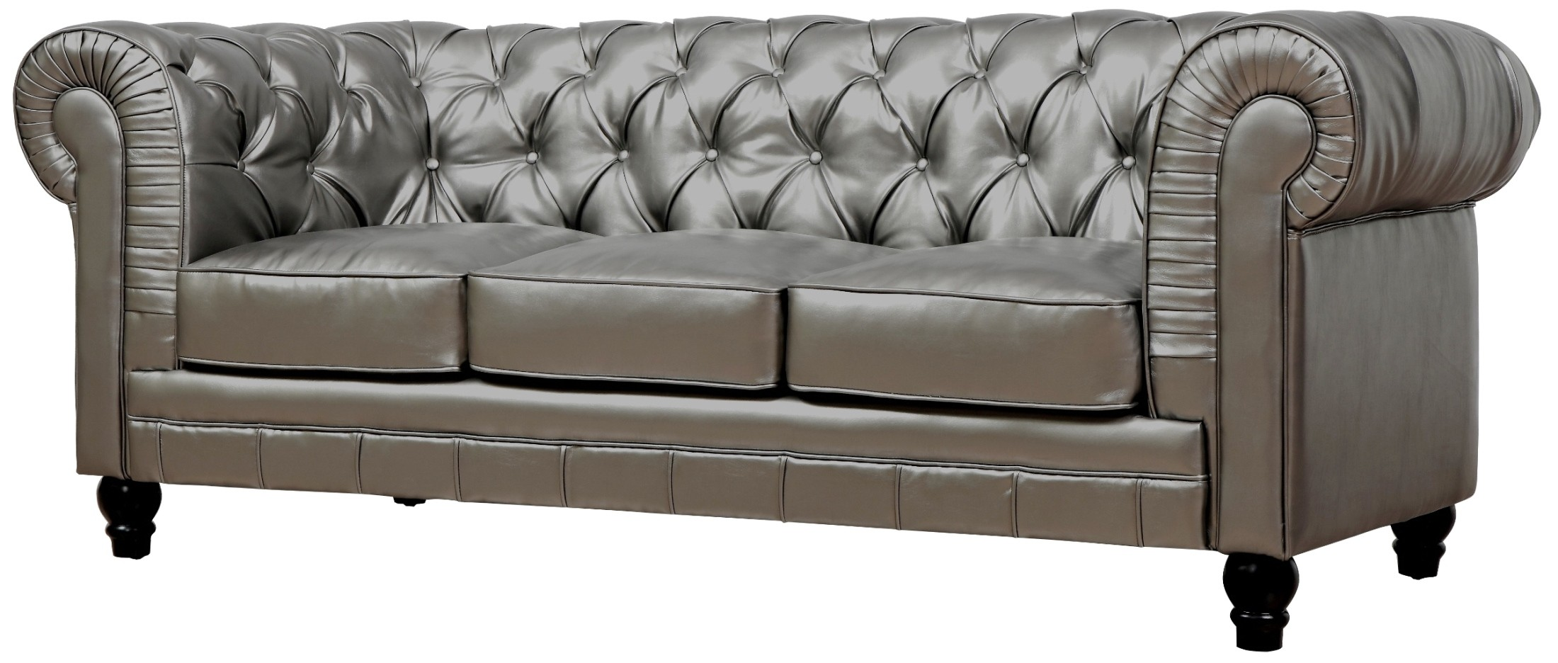 High Quality Zahara Silver Leather Sofa