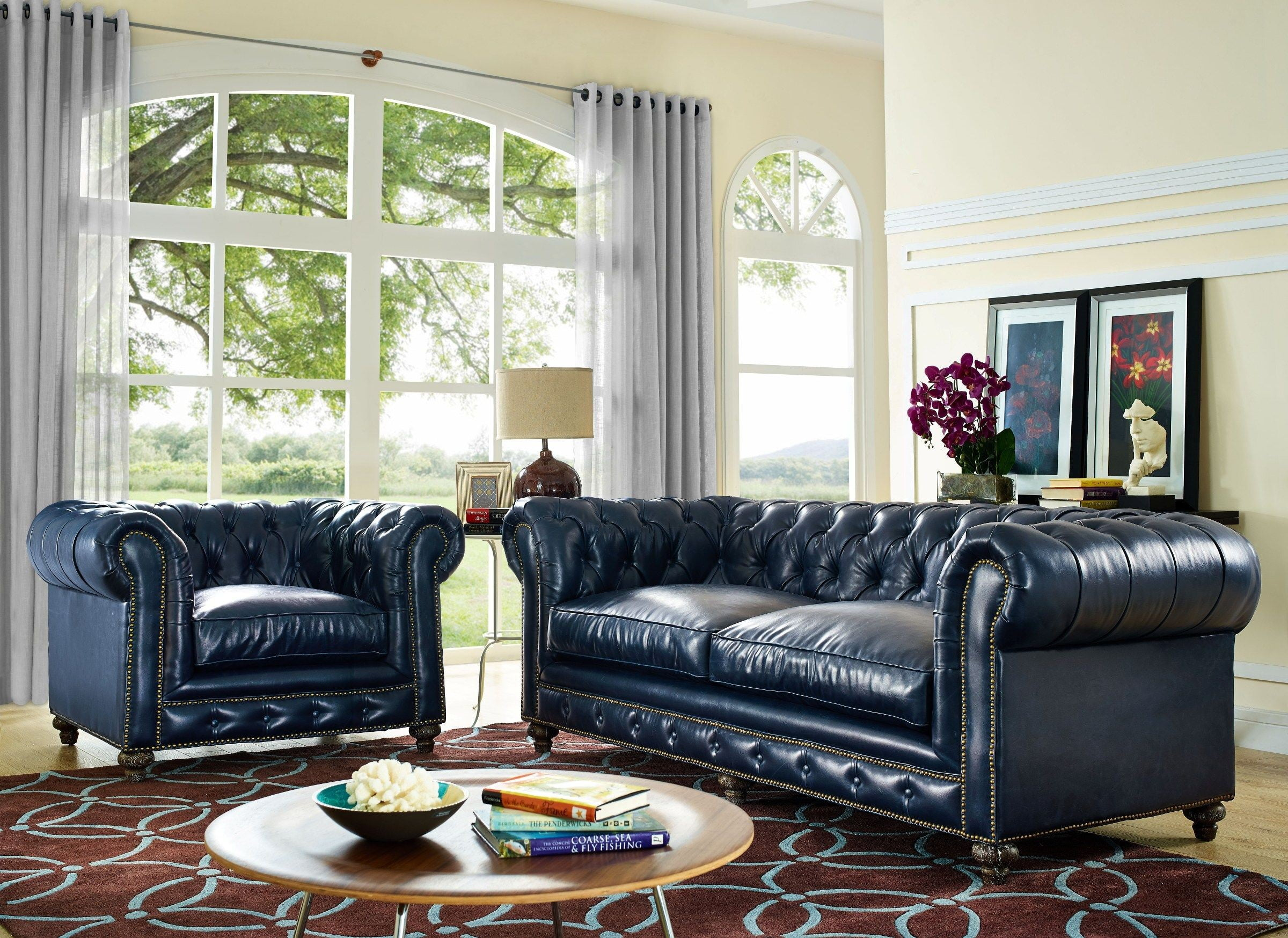 Durango Rustic Blue Leather Sofa from TOV S38