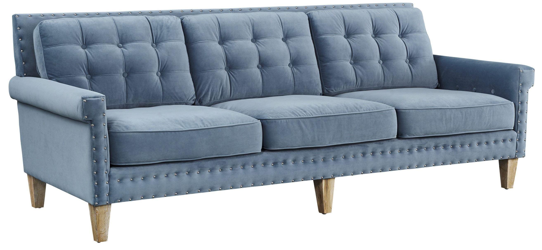 Jonathan Blue Velvet Sofa from TOV TOV S75