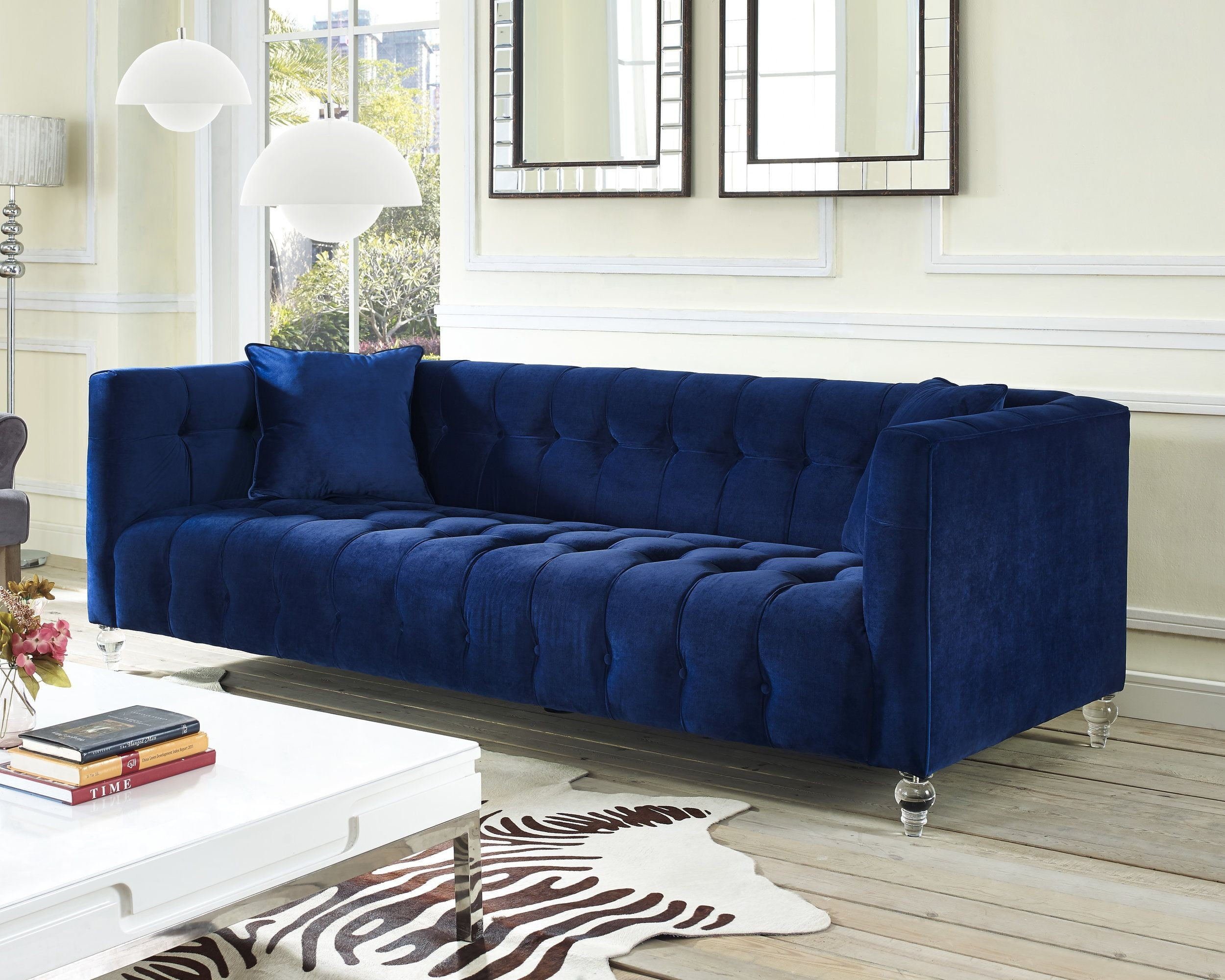 Bea Navy Velvet Sofa From Tov Tov S85 Coleman Furniture
