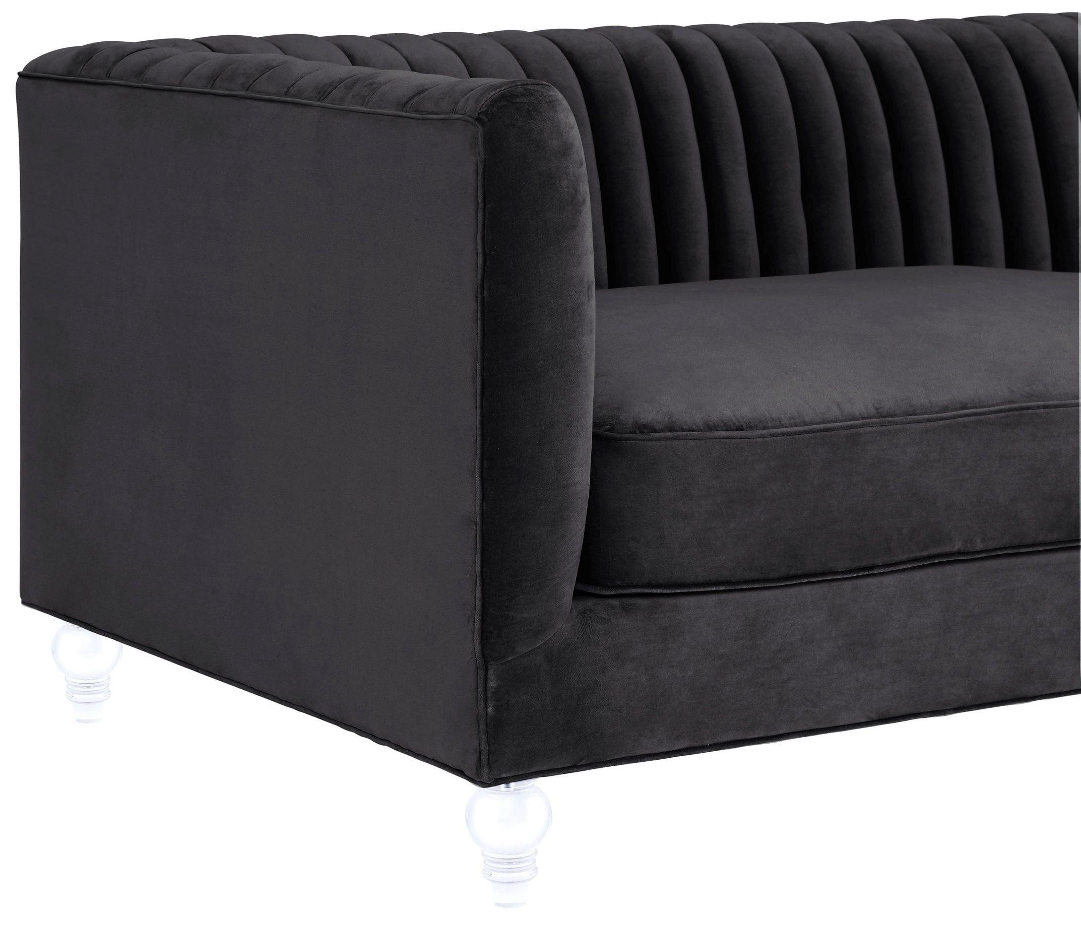 Aviator Grey Velvet Sofa from TOV TOV S86