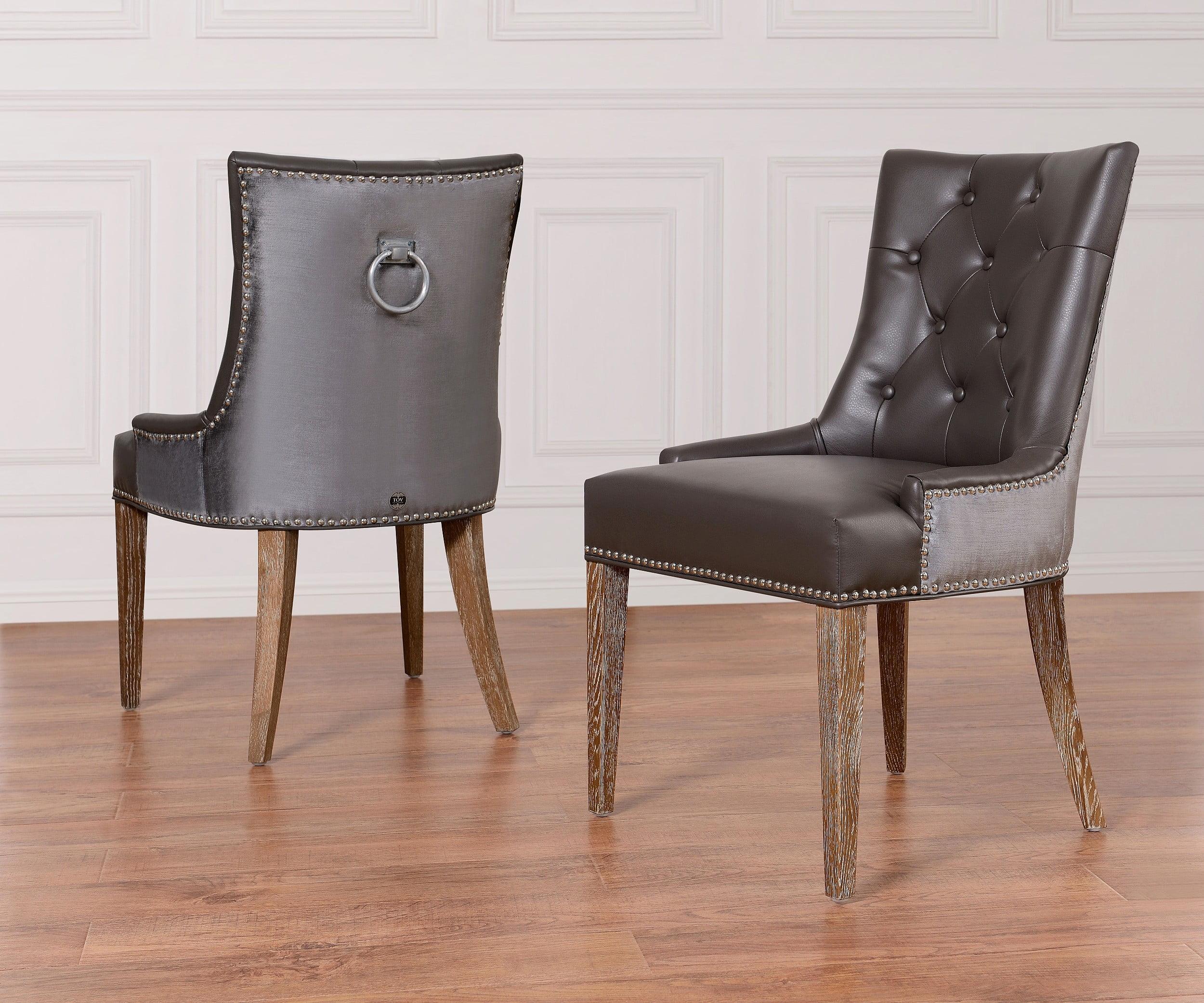 Uptown Leather Velvet Dining Chair from TOV UPT GBLGV