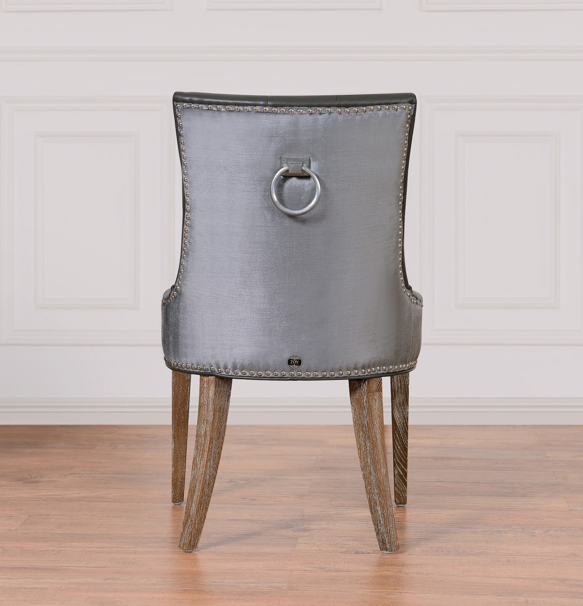 Uptown LeatherVelvet Dining Chair From TOV UPTGBLGV Coleman - Leather dining chairs uk