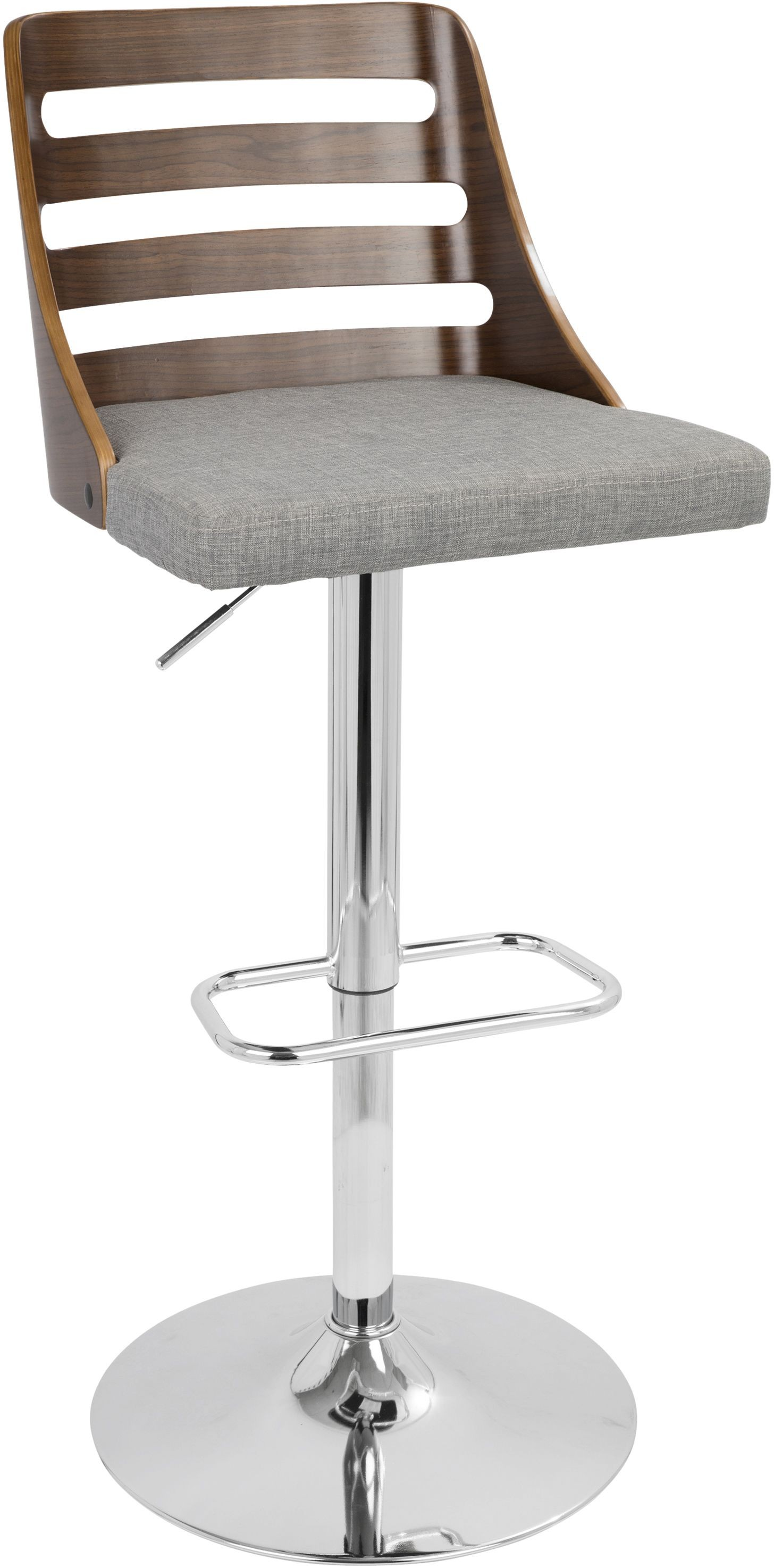 Trevi Walnut And Gray Adjustable Barstool Set Of 2 From