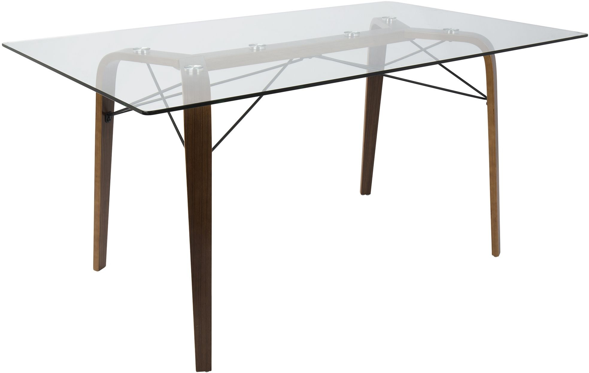 Trilogy Walnut And Clear Glass Dining Table From