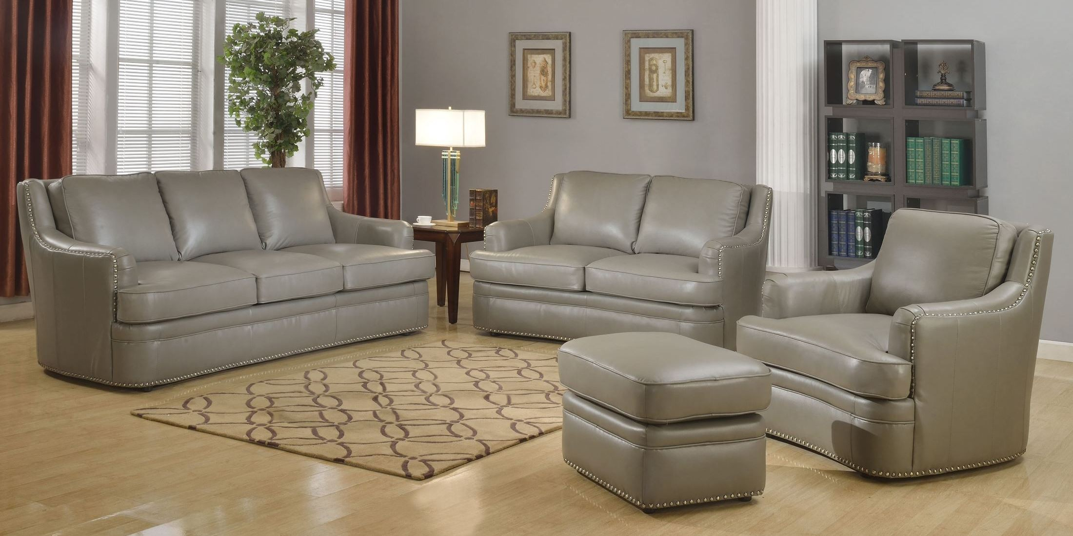 Tulsa Dark Gray Living Room Set From Leather Italia 1444