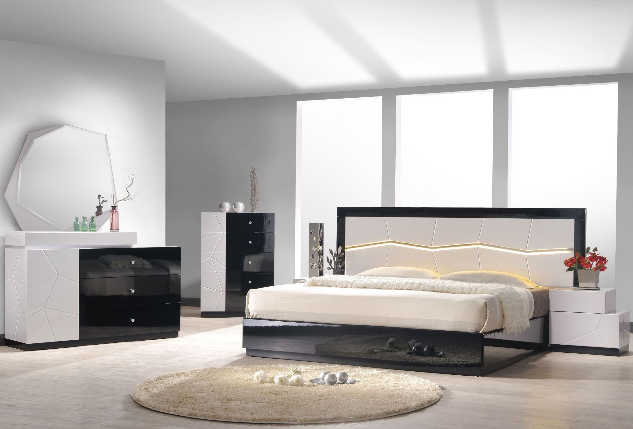 turin light grey and black lacquer platform bedroom set 14583 | turin modern bedroom 2