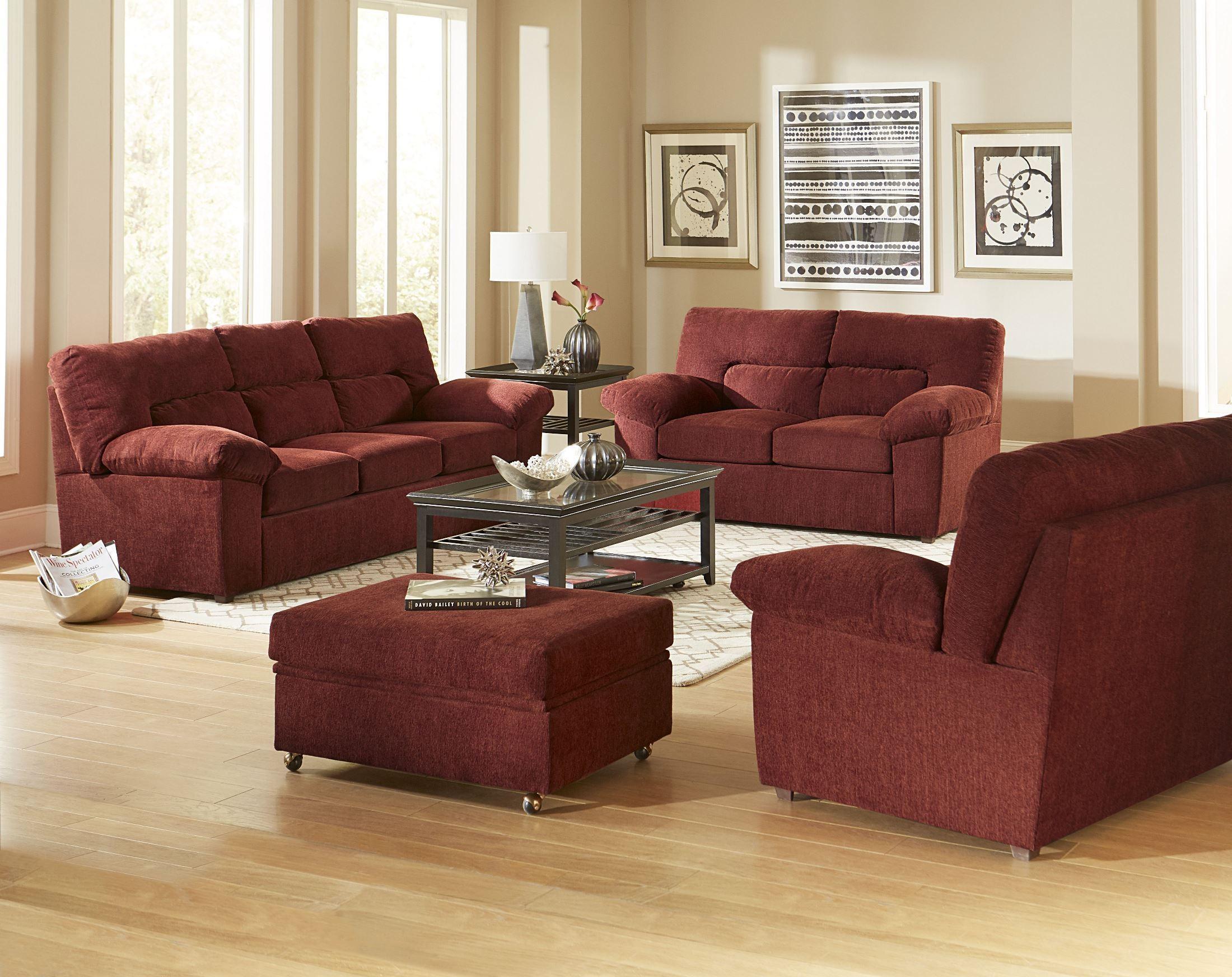 Duke Red Chenille Living Room Set from Progressive ...