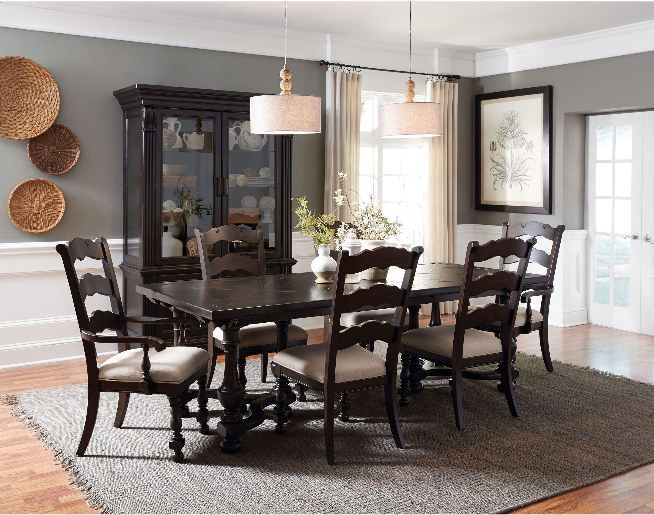 Caldwell Dark Wood Rectangular Dining Room Set