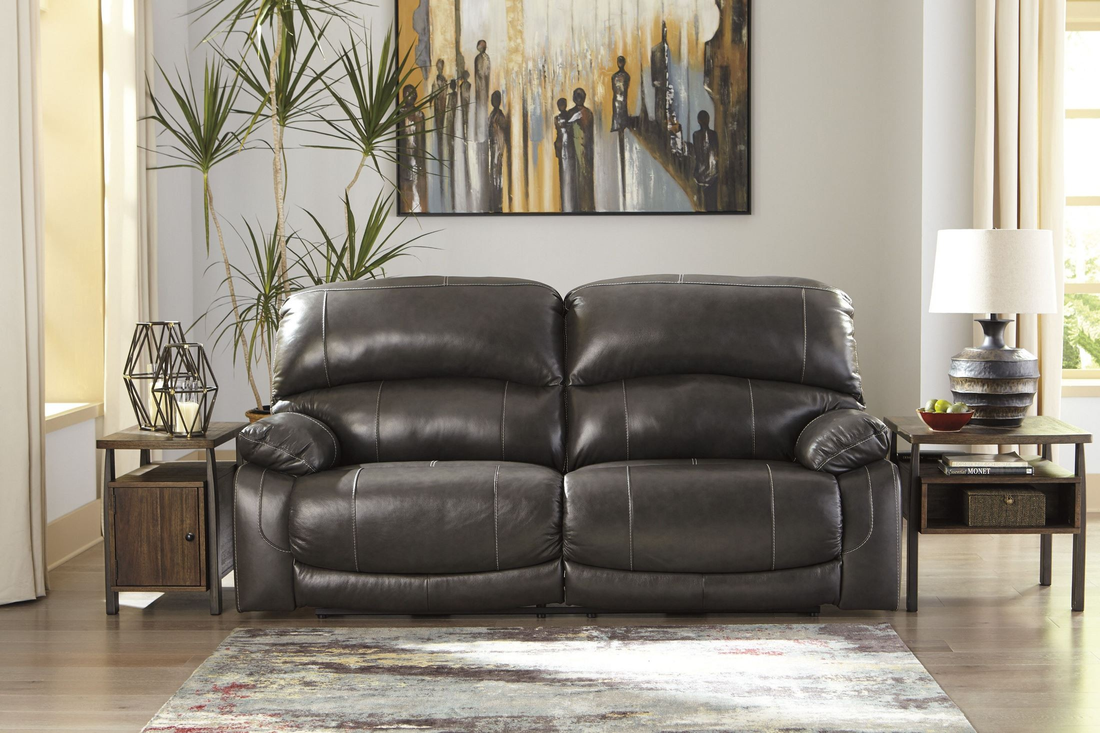 Hallstrung Gray 2 Seat Reclining Power Sofa From Ashley