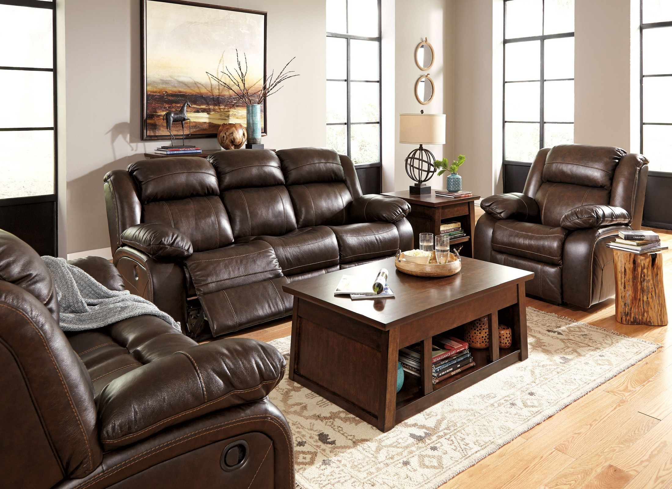 Branton antique reclining living room set from ashley Reclining living room furniture