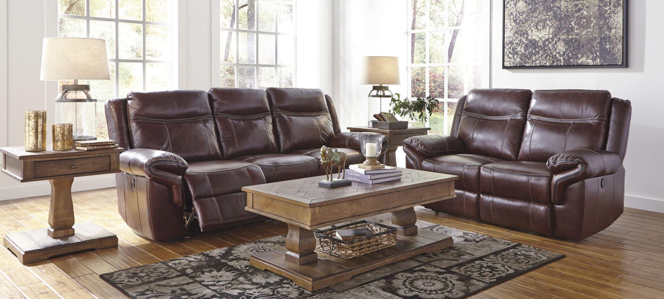 Zephen Mahogany Reclining Power Reclining Living Room Set