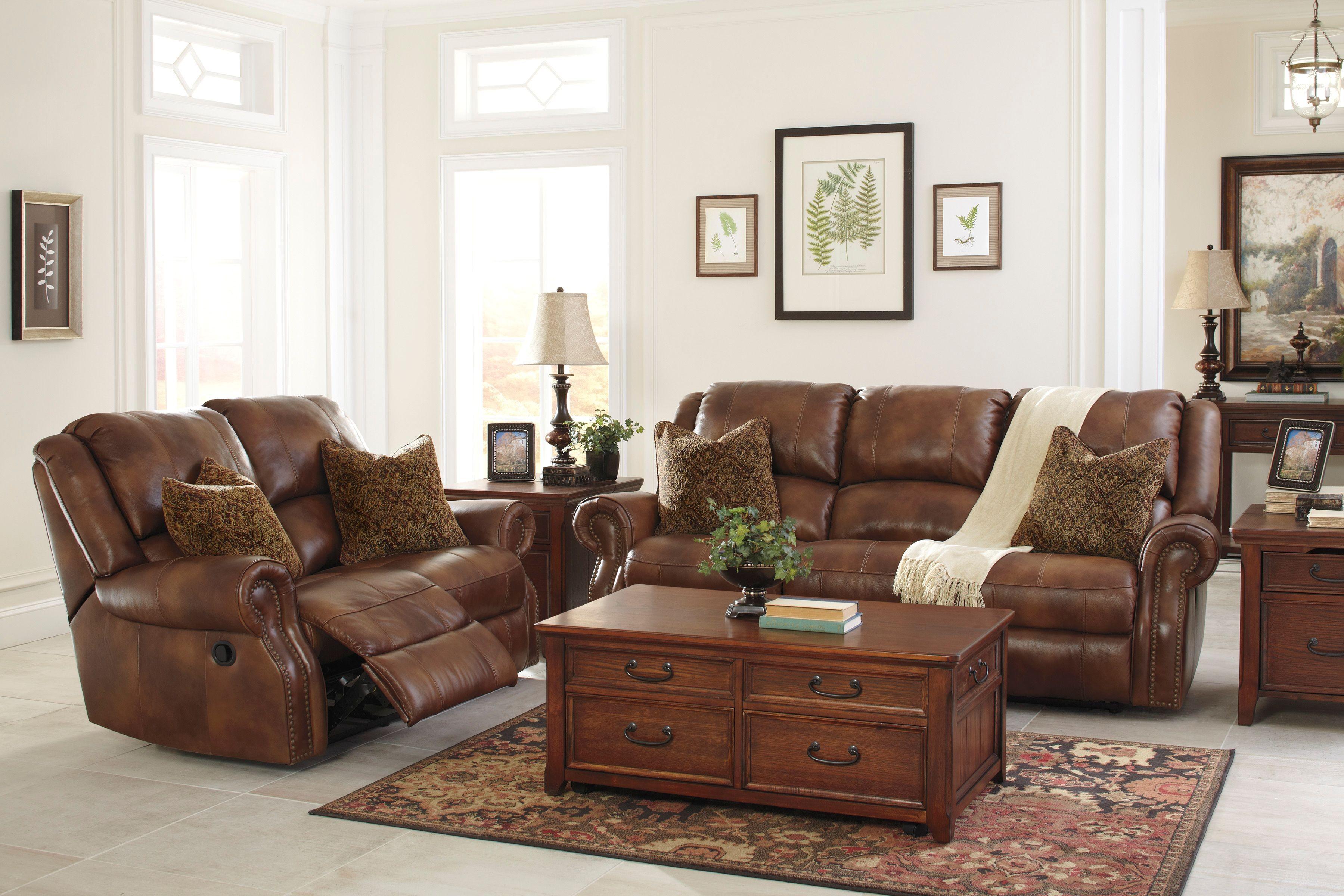 Walworth Auburn Reclining Living Room Set from Ashley (U78001-88 ...
