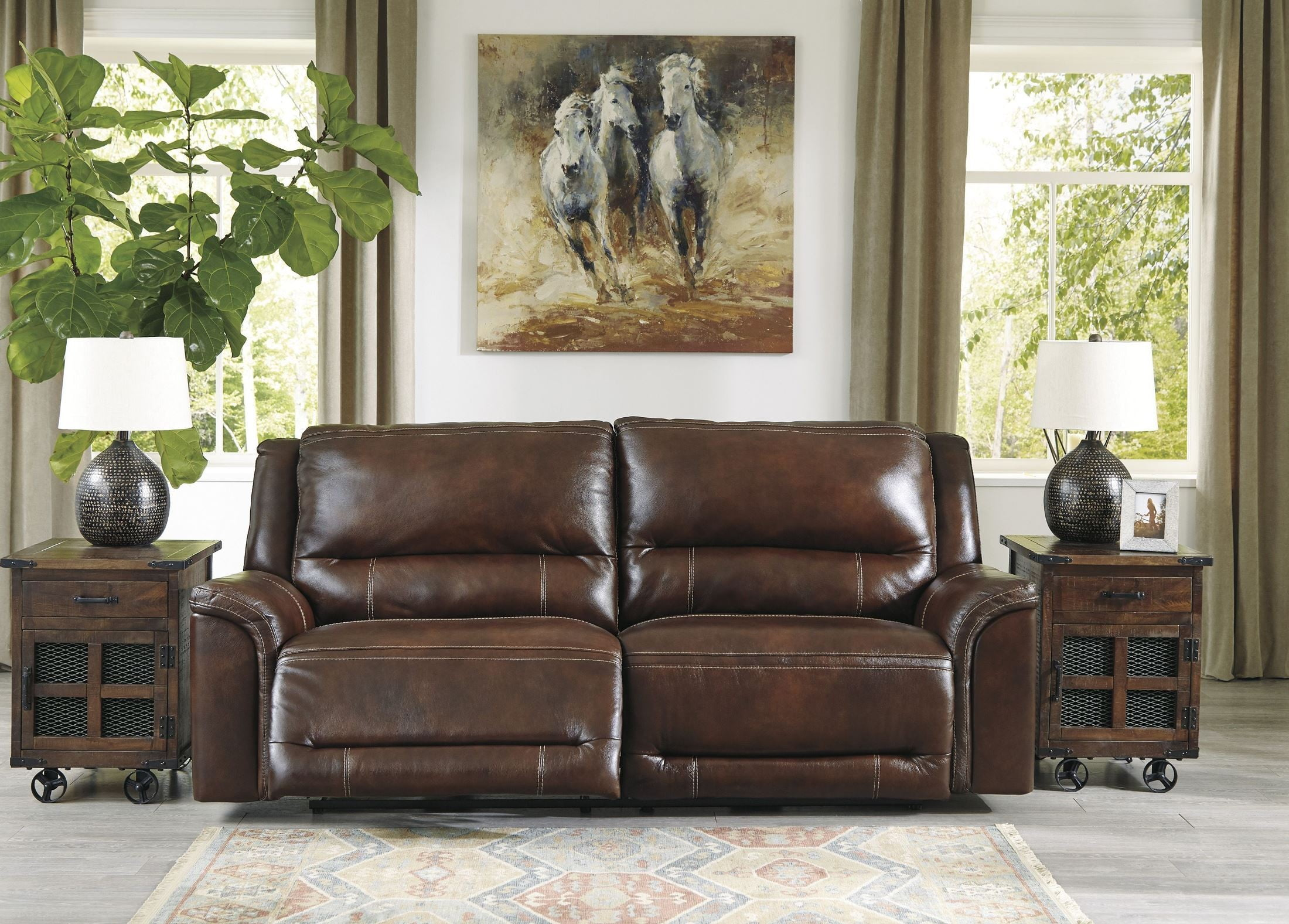 Peachy Catanzaro Mahogany 2 Seat Power Reclining Sofa With Adjustable Headrest Machost Co Dining Chair Design Ideas Machostcouk