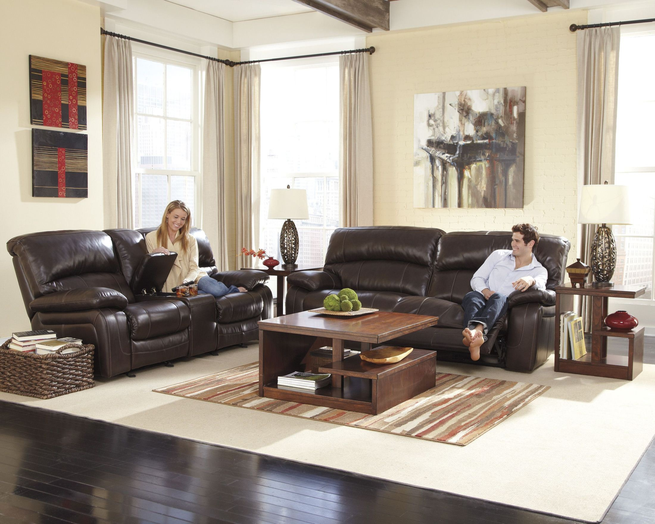Damacio Dark Brown Reclining Living Room Set From Ashley