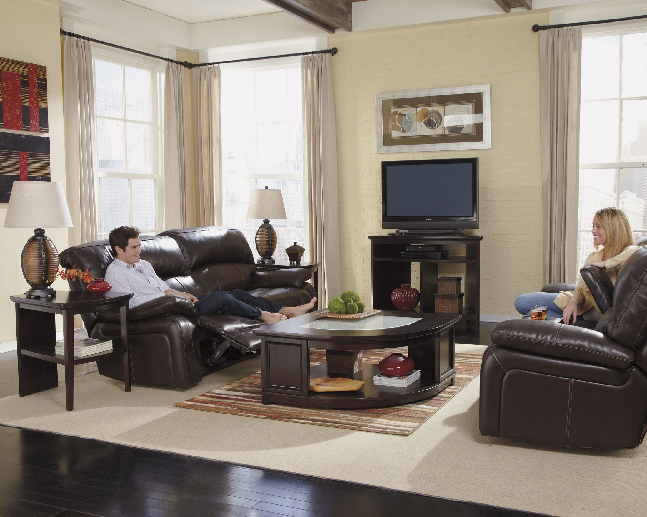 Damacio dark brown reclining living room set from ashley for 7 piece living room set with tv