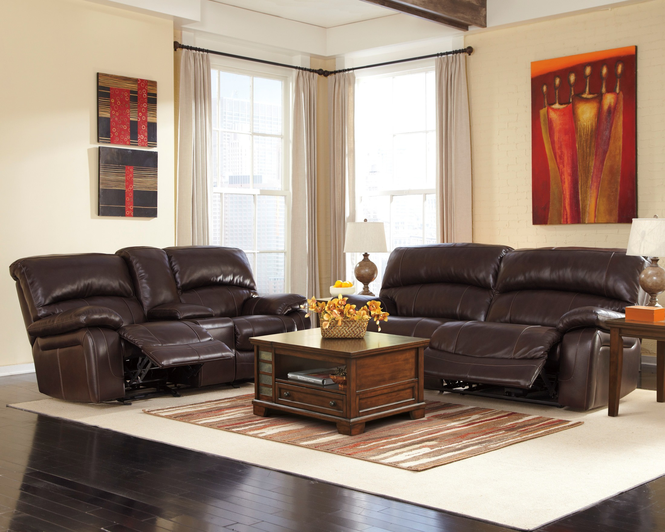 Damacio Dark Brown 2 Seat Reclining Sofa From Ashley