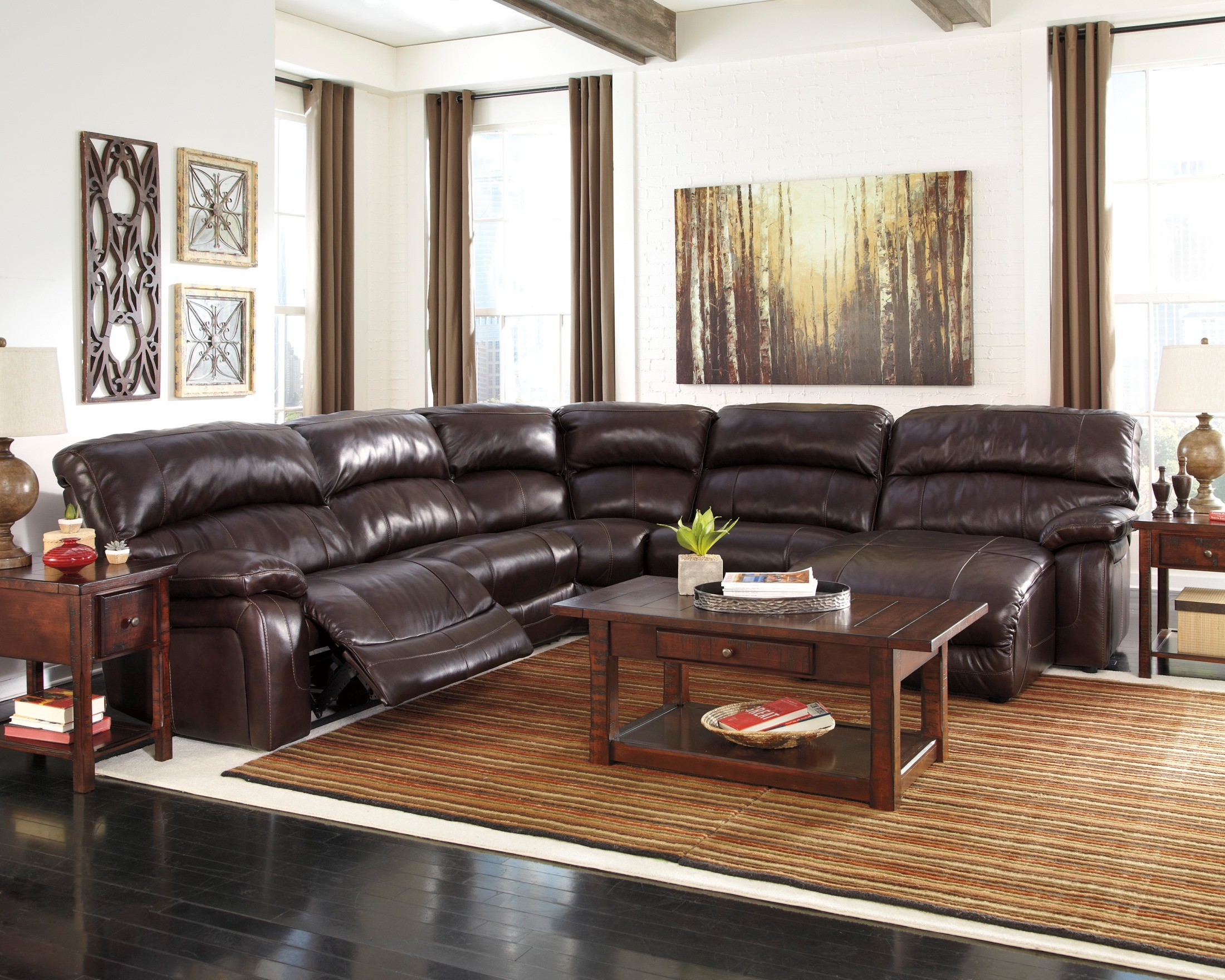 Ashley Furniture Damacio Leather Reclining Sofa In Dark Brown - Damacio dark brown raf power reclining sectional 422542