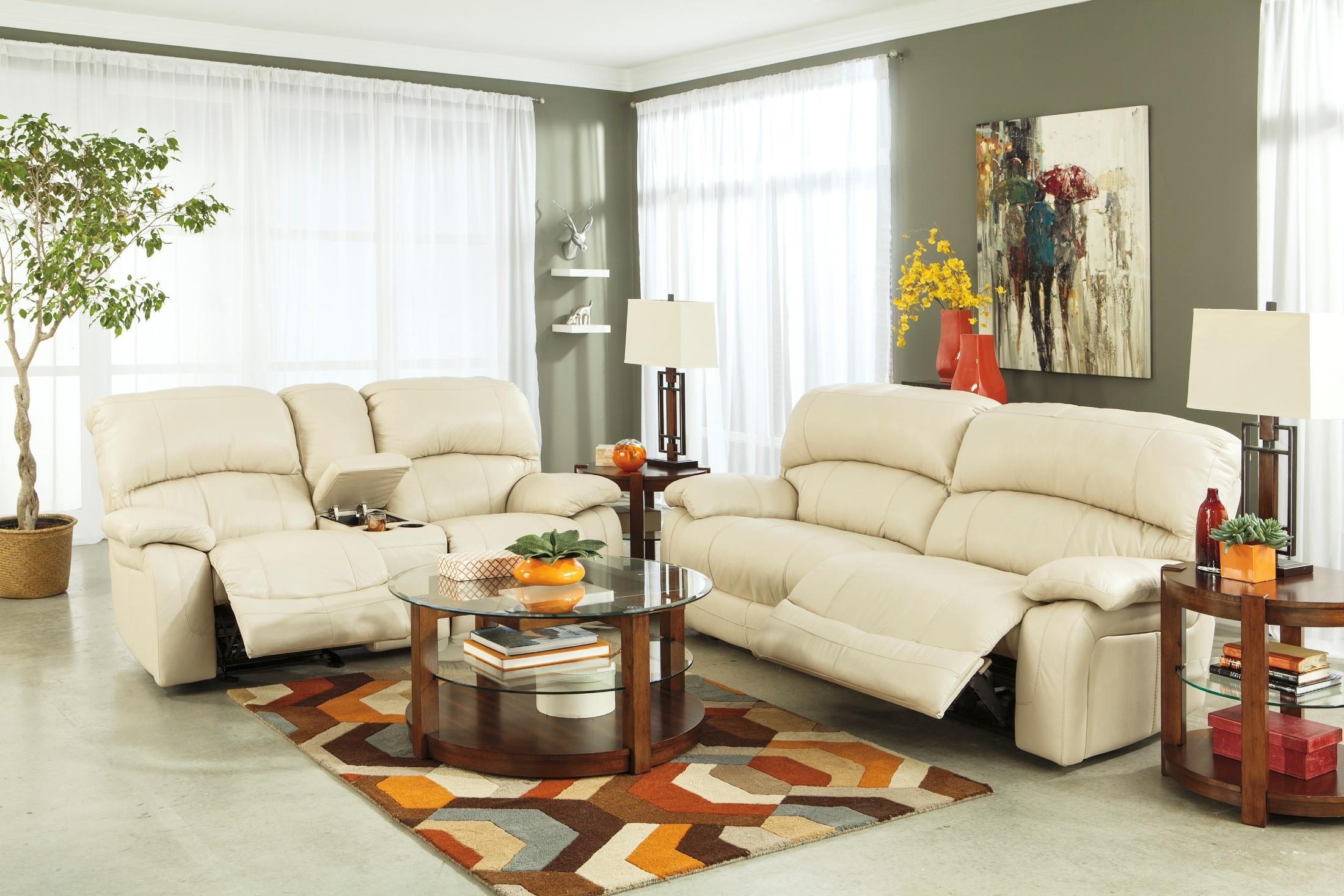 Damacio Cream 2 Seat Power Reclining Sofa From Ashley