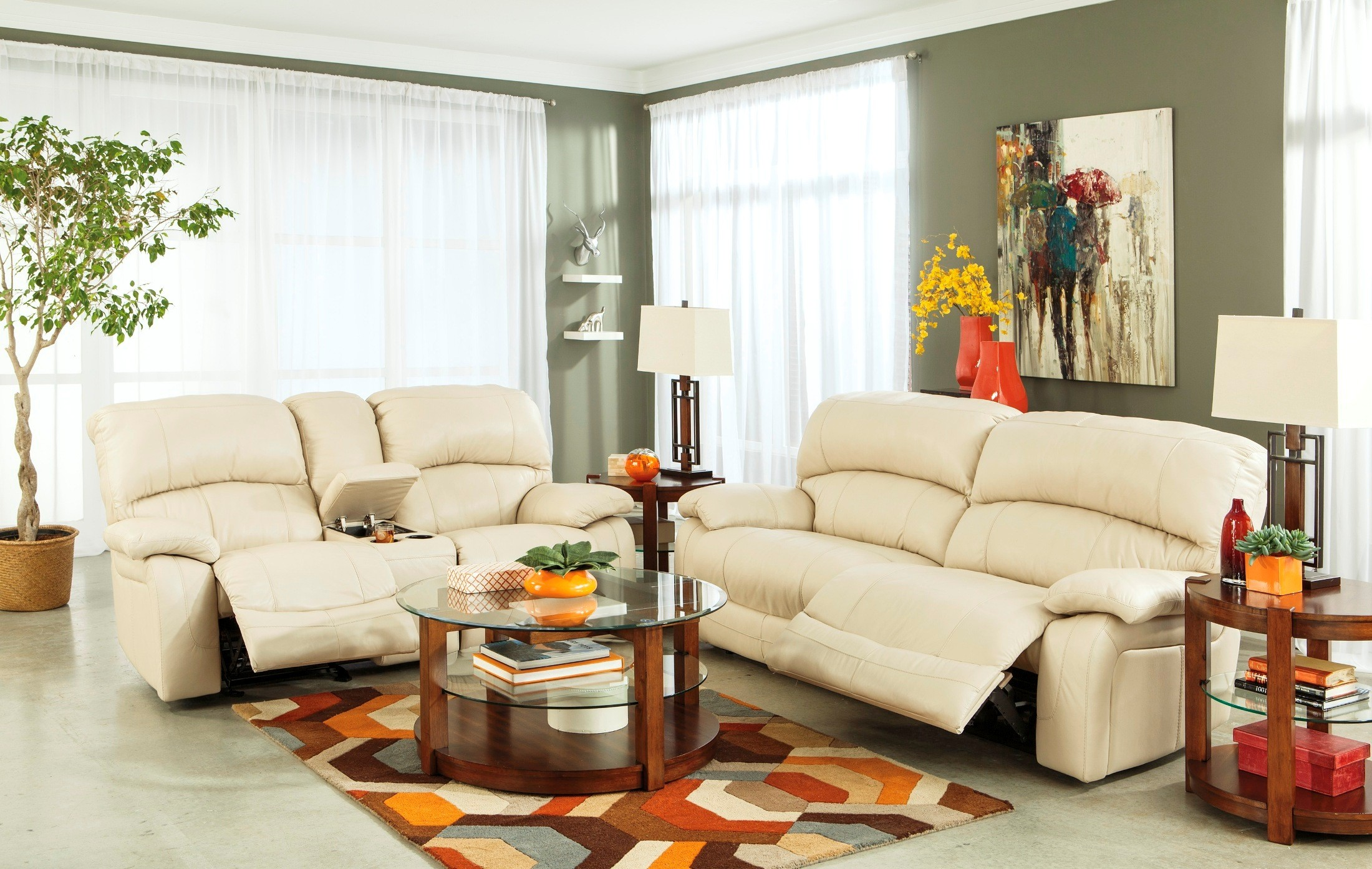 Damacio Cream Power Reclining Living Room Set From Ashley