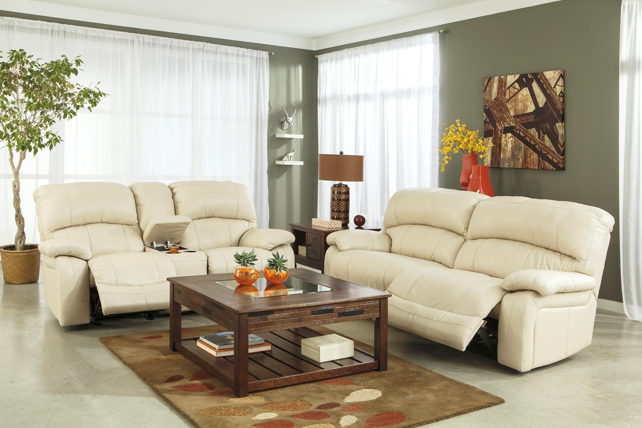 Damacio Cream 2 Seat Power Reclining Sofa from Ashley U