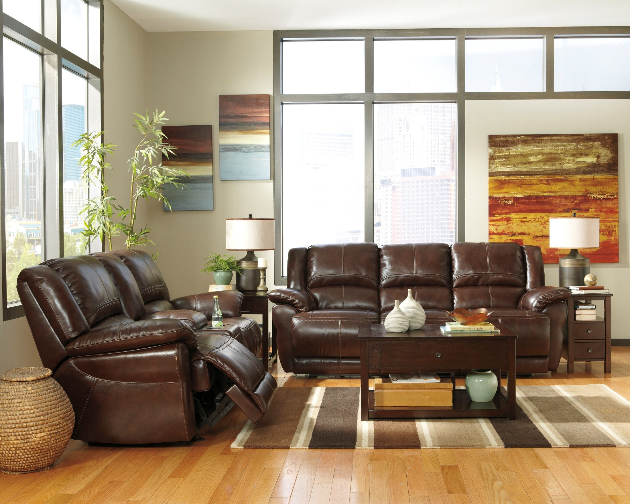 Lenoris Coffee Reclining Living Room Set From Ashley