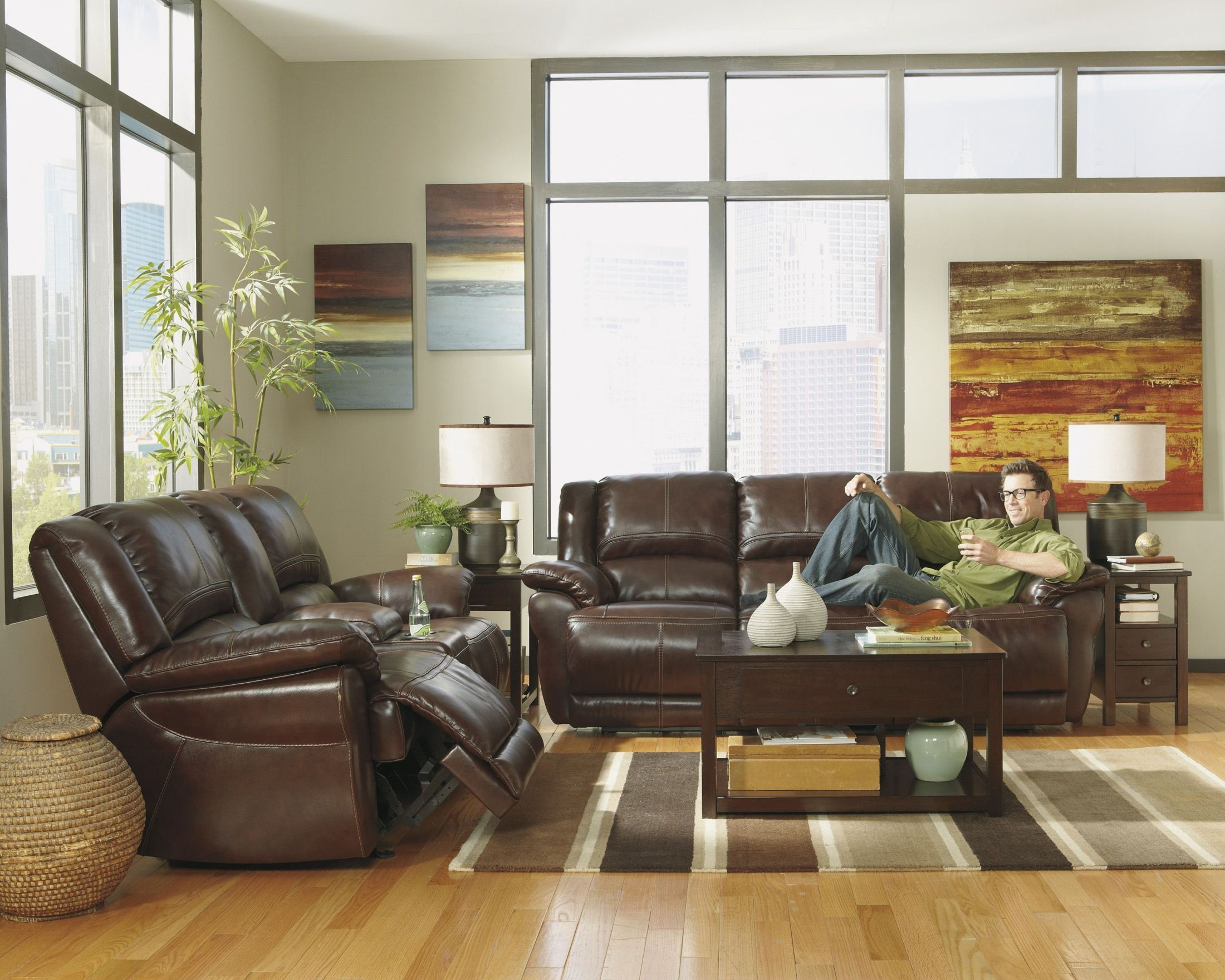 Lenoris Coffee Glider Reclining Loveseat With Console From