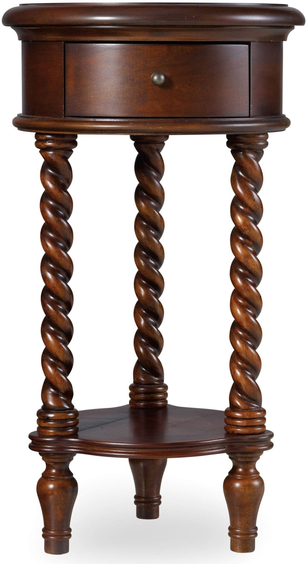 dark wood 14 39 39 inlay 1 drawer round top accent table from hooker coleman furniture. Black Bedroom Furniture Sets. Home Design Ideas