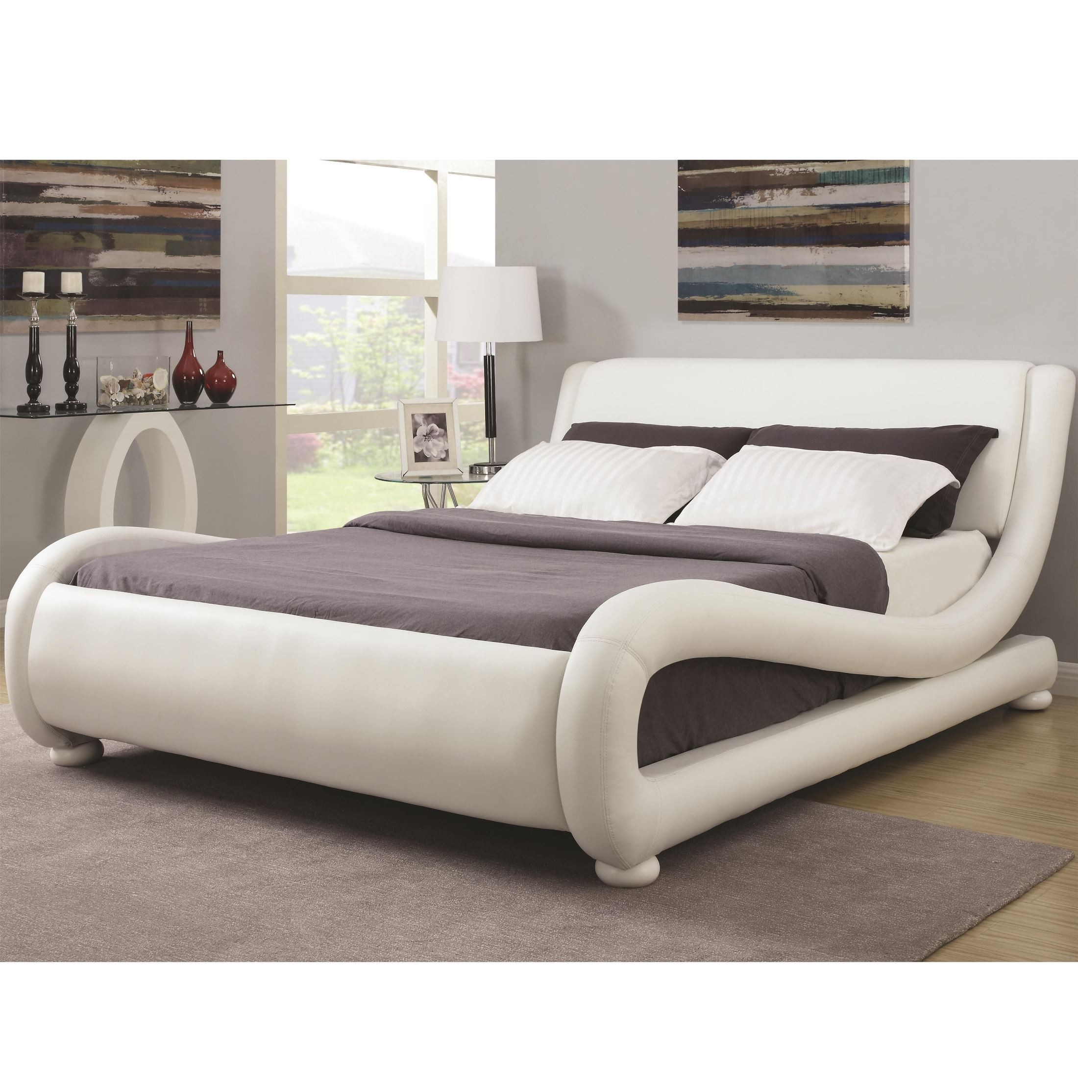 Kingsburg modern king upholstered platform bed from Modern platform beds