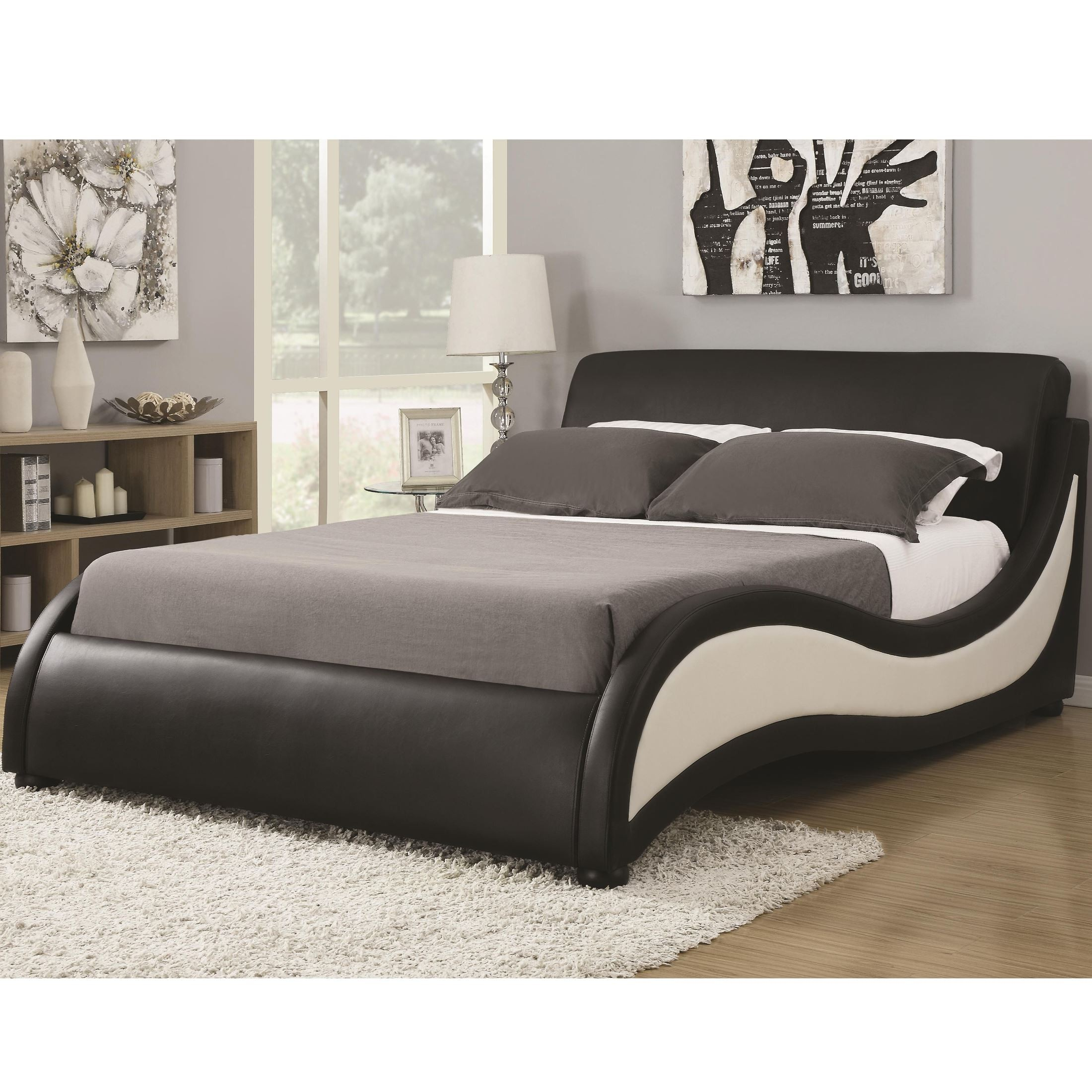 Niguel modern queen upholstered platform bed 605288