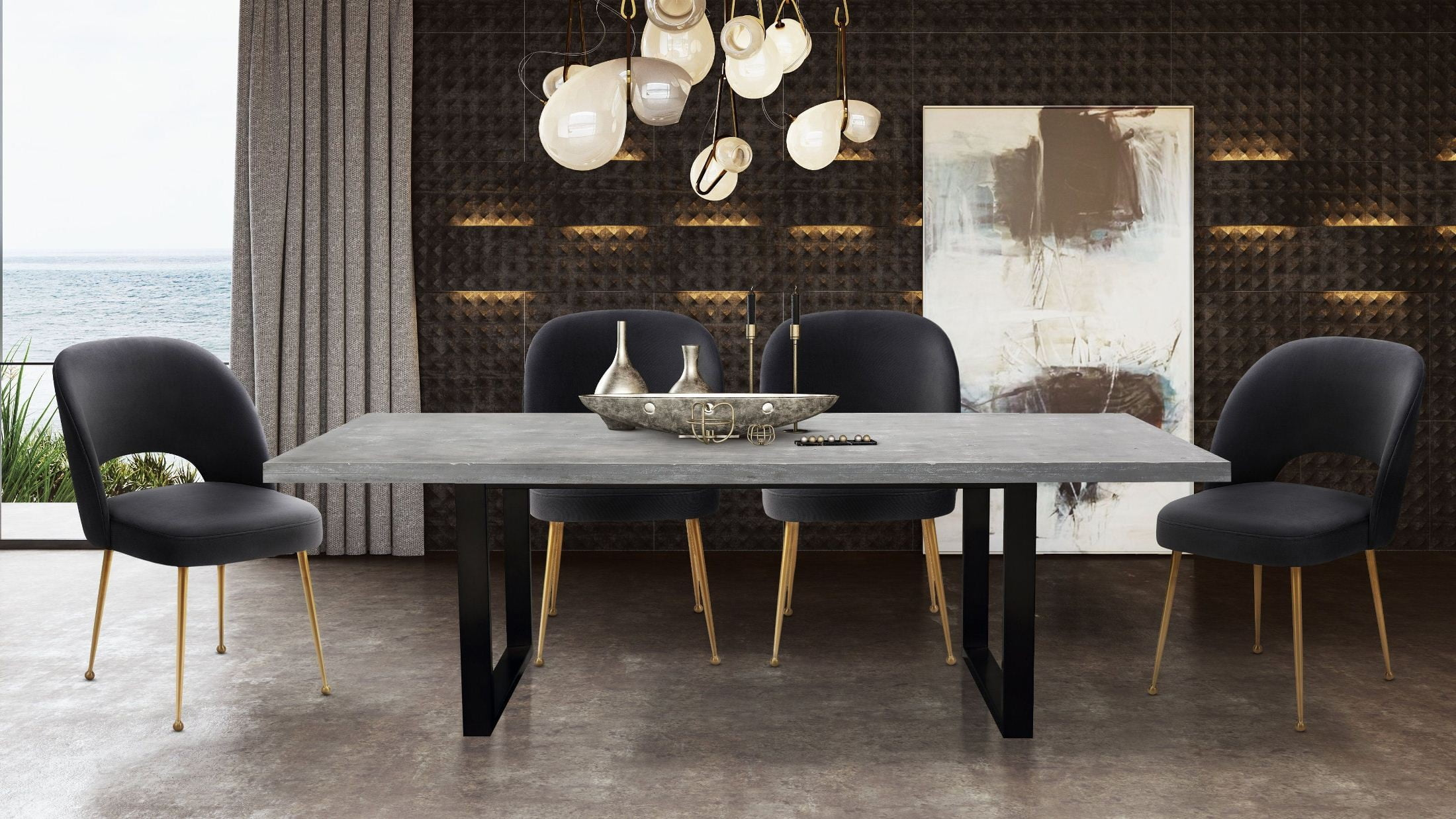 Urban Light Concrete Rectangular Dining Room Set With Swell Chair From TOV  Furniture | Coleman Furniture