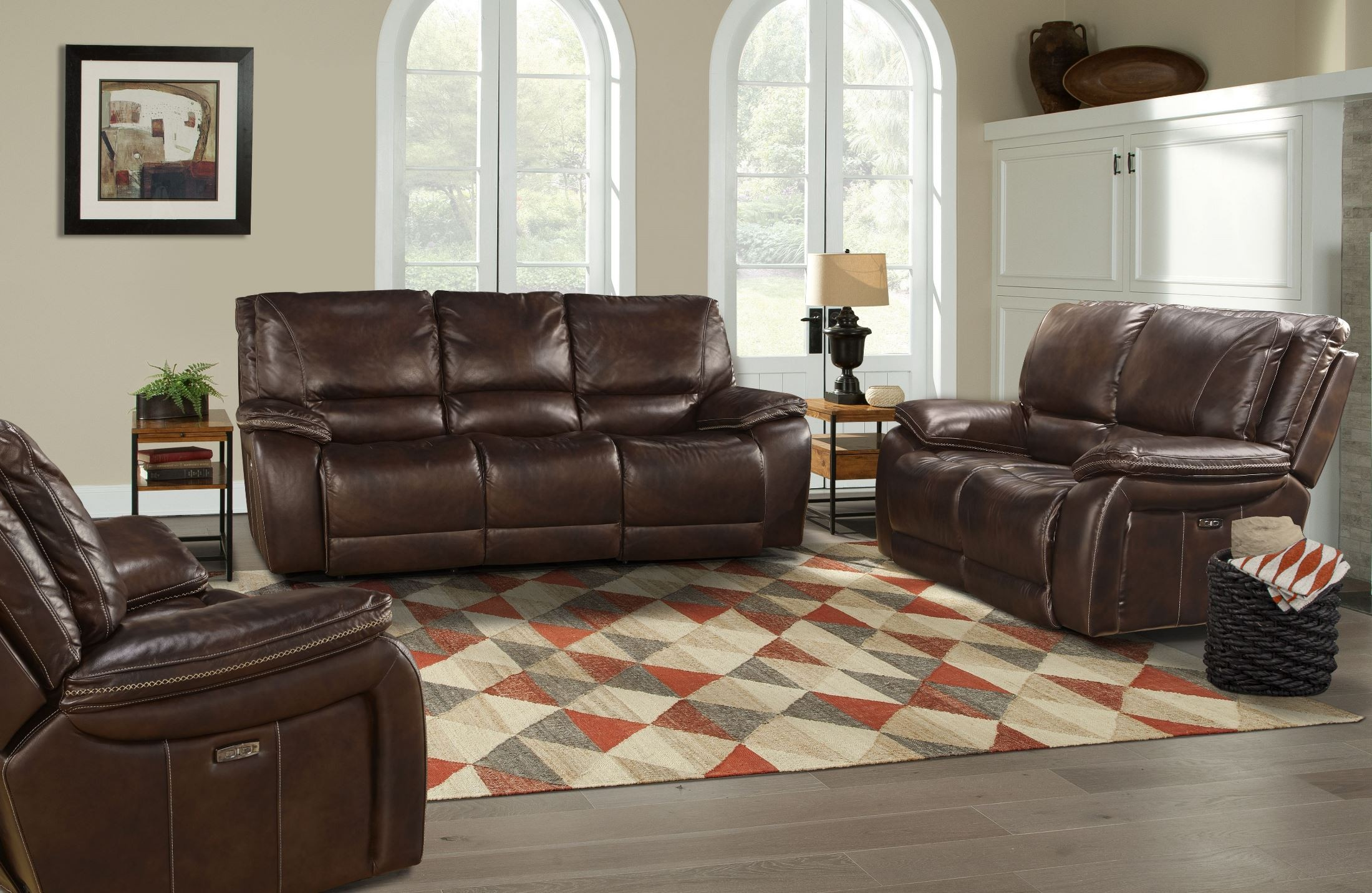 Vail Burnt Sienna Leather Dual Power Reclining Living Room