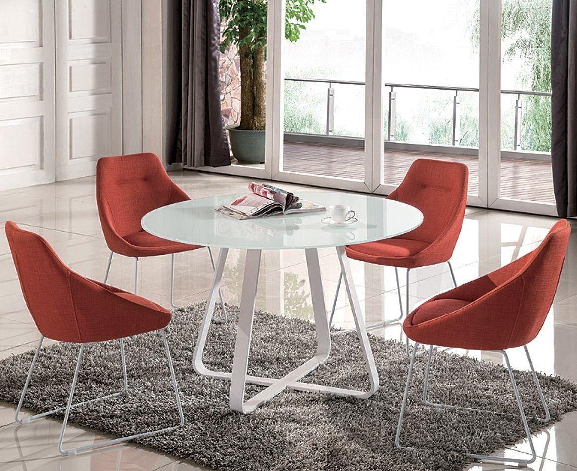 Round white dining room set