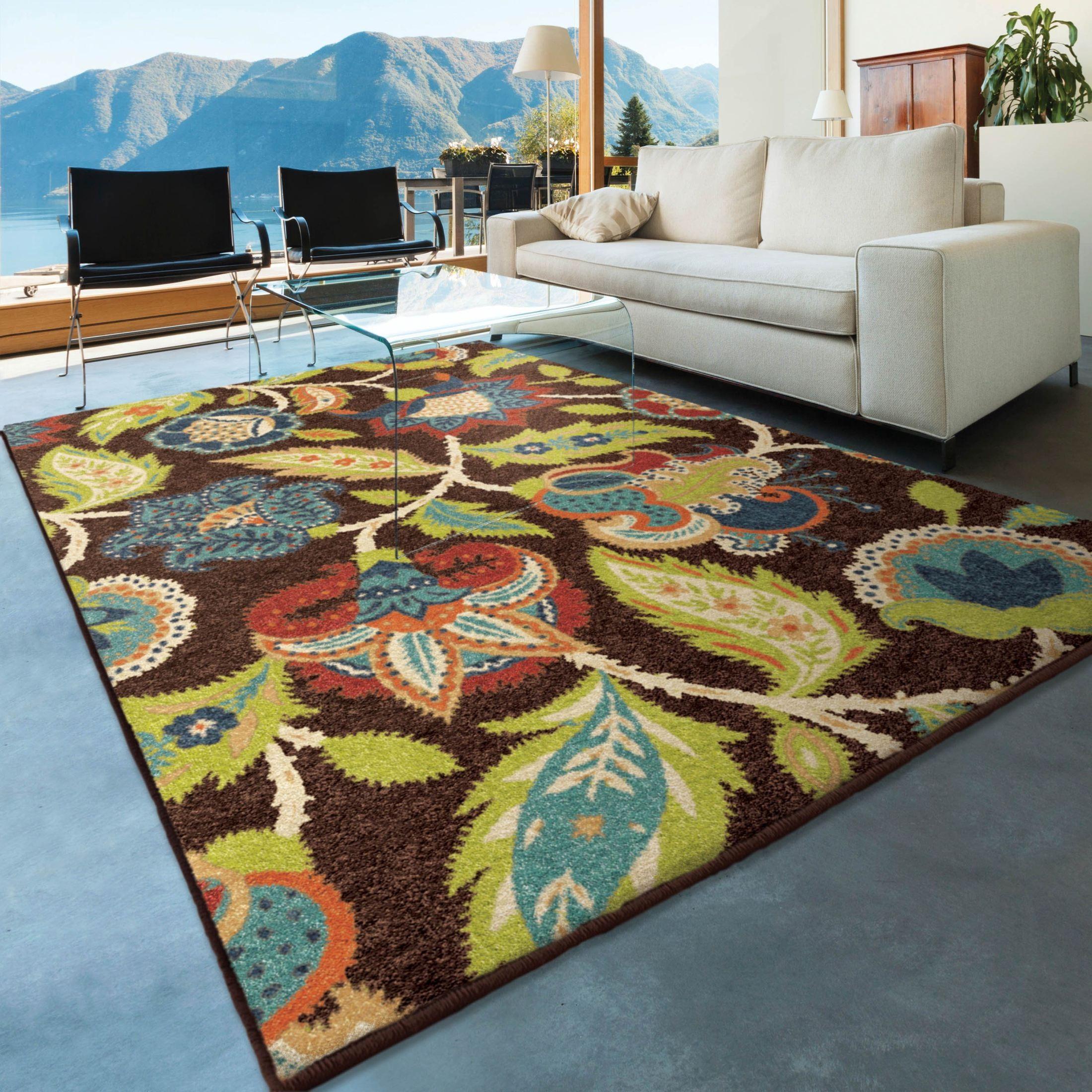 7x10 Rug: Orian Rugs Indoor/Outdoor Floral Ethridge Brown Area