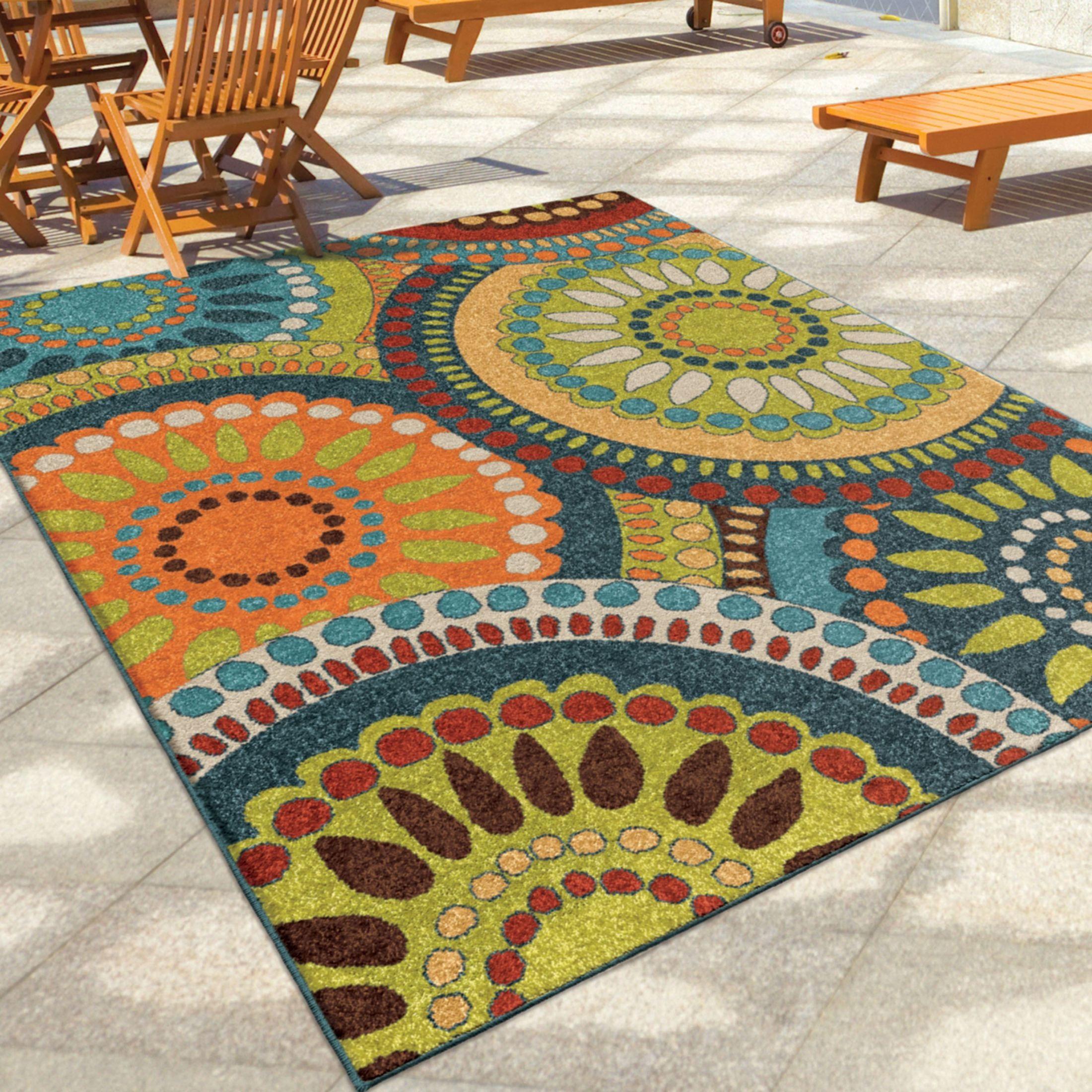 Rugs Furniture: Orian Rugs Indoor/Outdoor Circles Merrifield Collage Multi