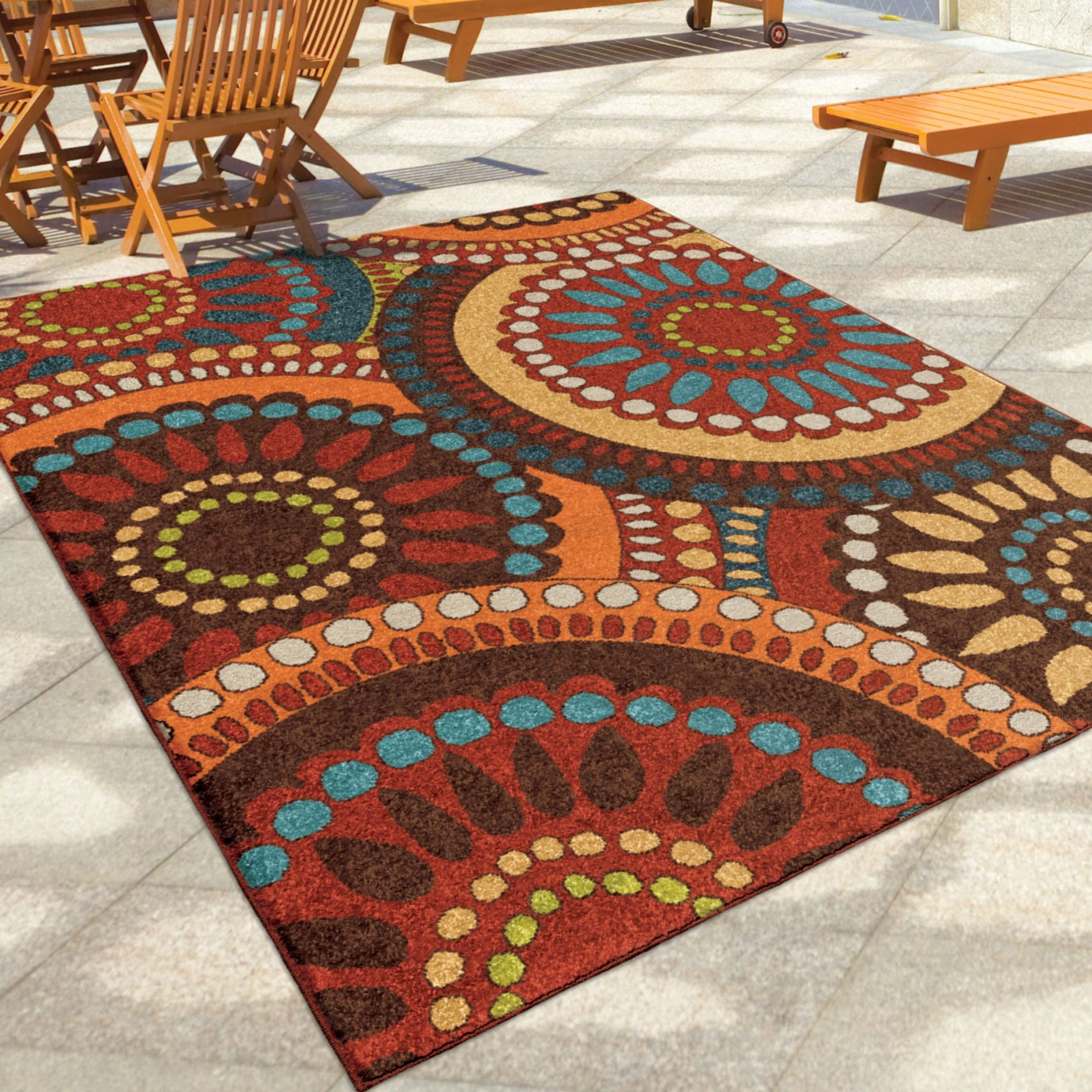 7x10 Rug: Orian Rugs Indoor/Outdoor Circles Merrifield Collage Multi