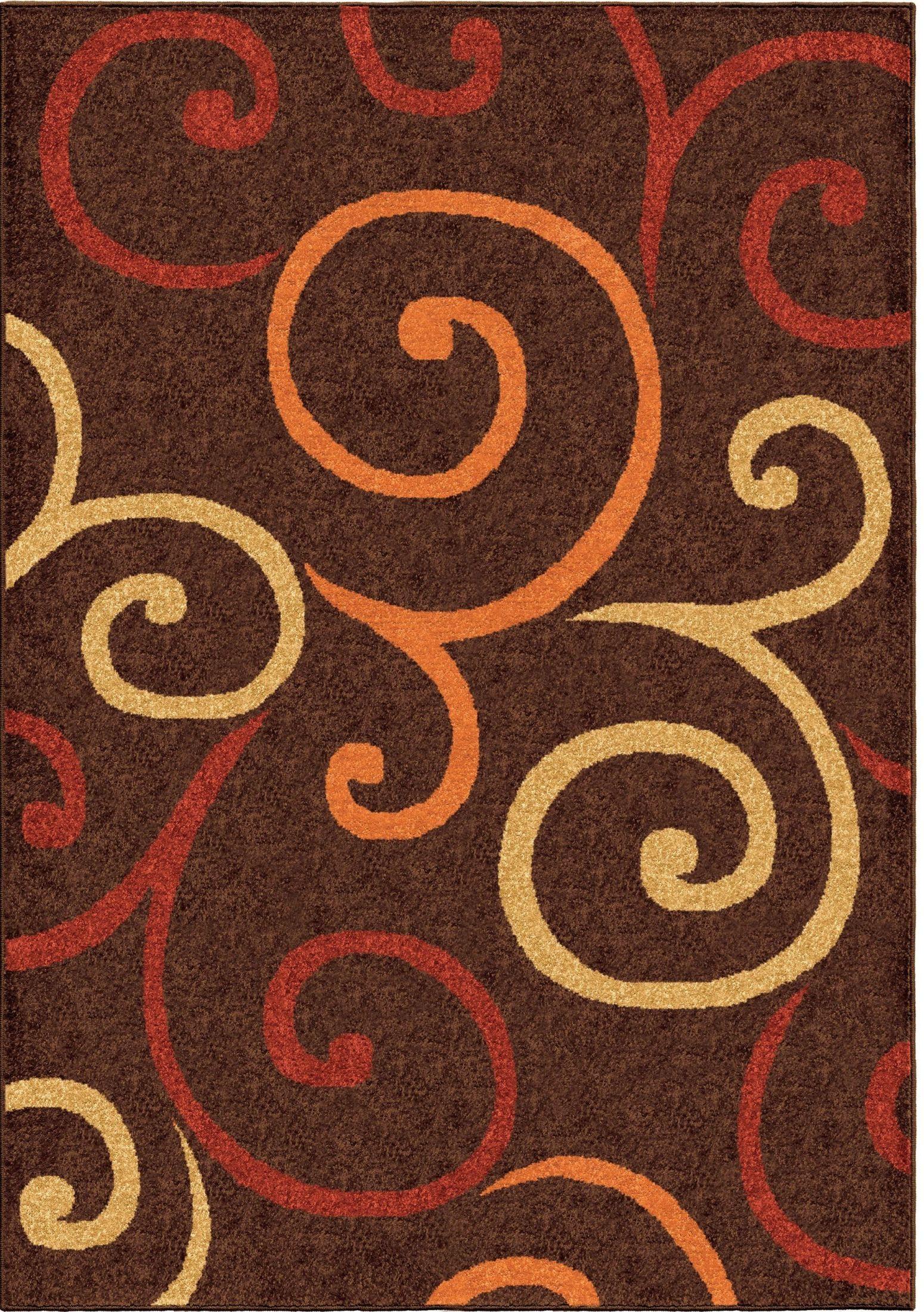Veranda Indoor Outdoor Scroll Semi Swirls Brown Medium