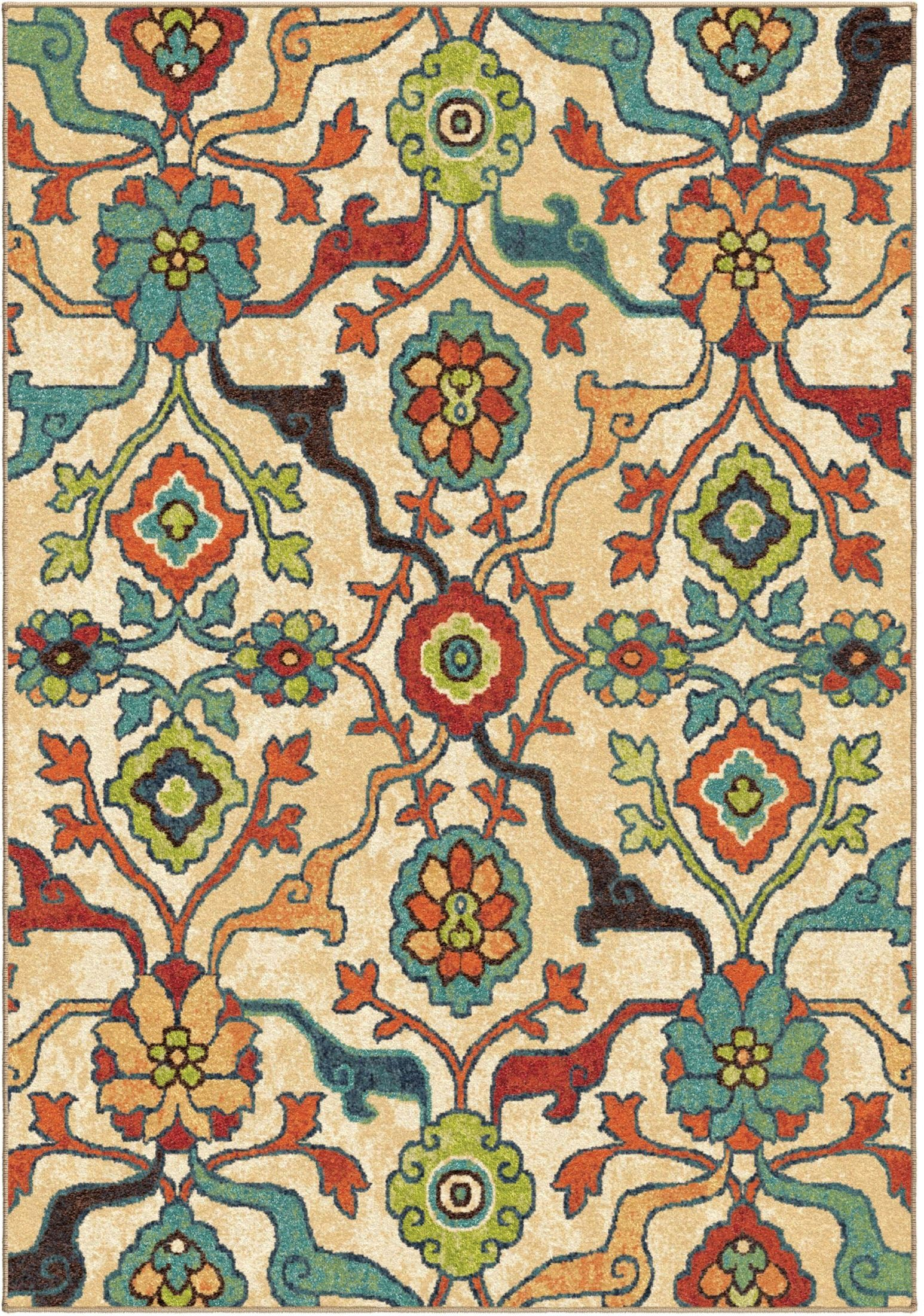 Spoleto bright color floral tibet multi large area rug for Bright floral area rugs