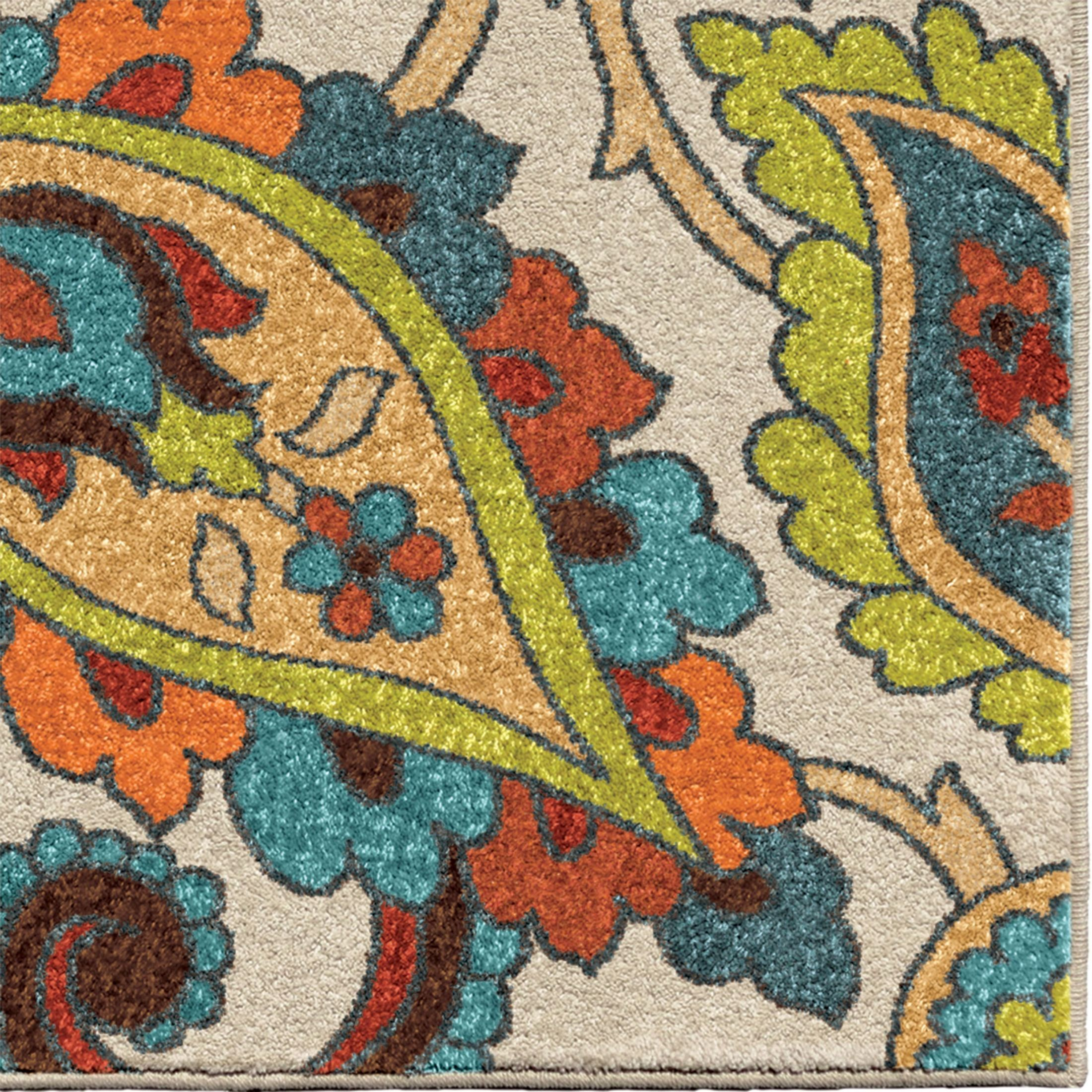 Bright Outdoor Area Rugs: Spoleto Bright Color Paisley Ginger Garden Multi Large