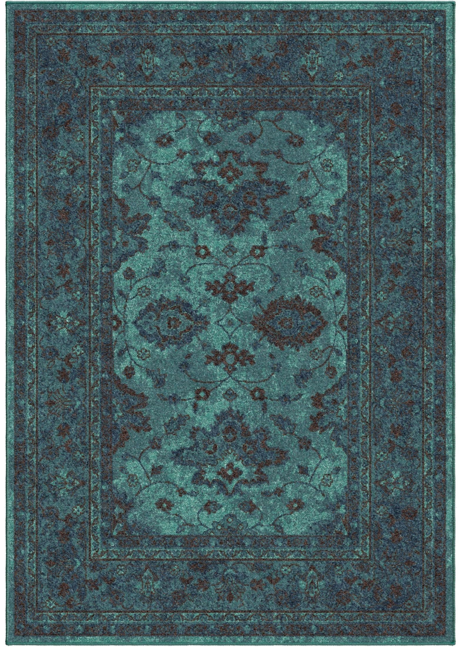 Spoleto bright color modern ethnicagra blue large area rug for Bright blue area rug