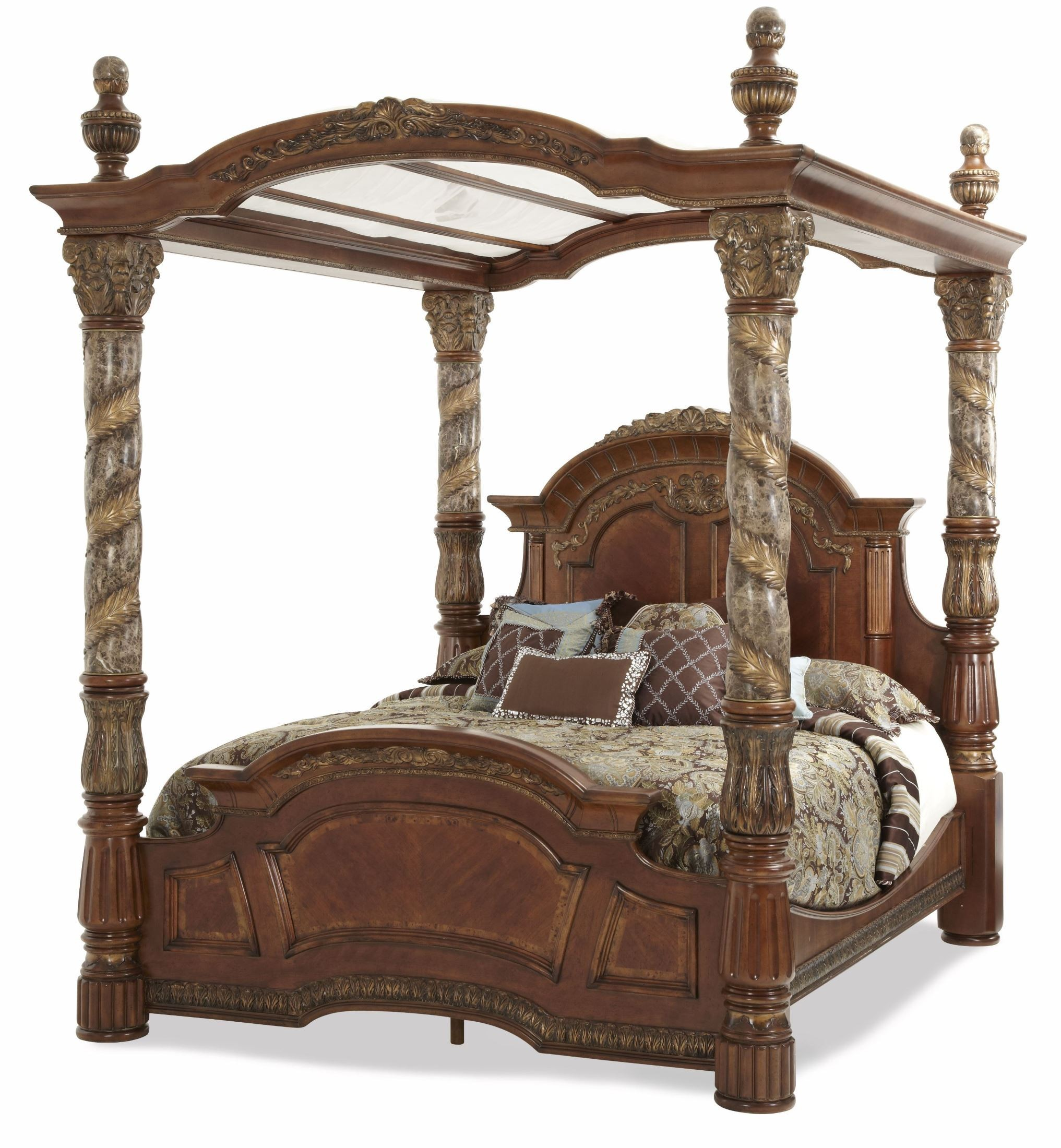 Villa Valencia King Poster Canopy Bed From Aico 72000can