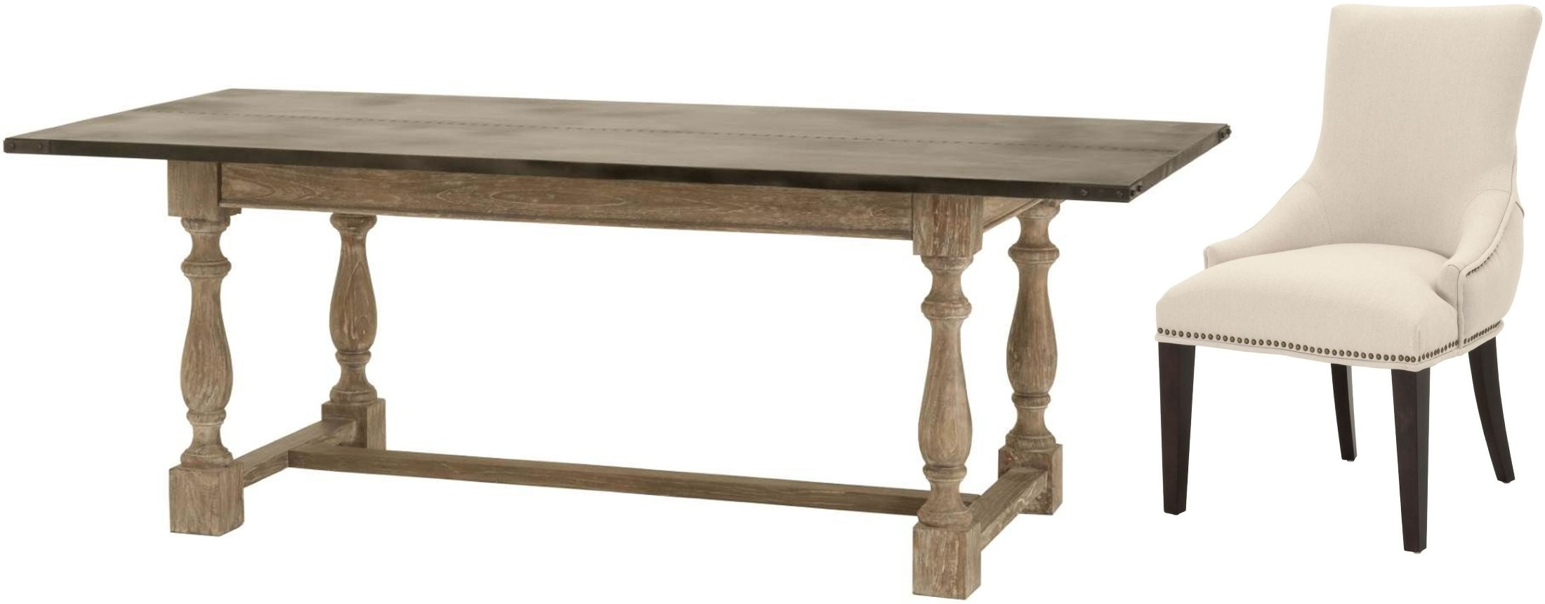 Ville drift grey dining room set from orient express for Table 6 7 8 9