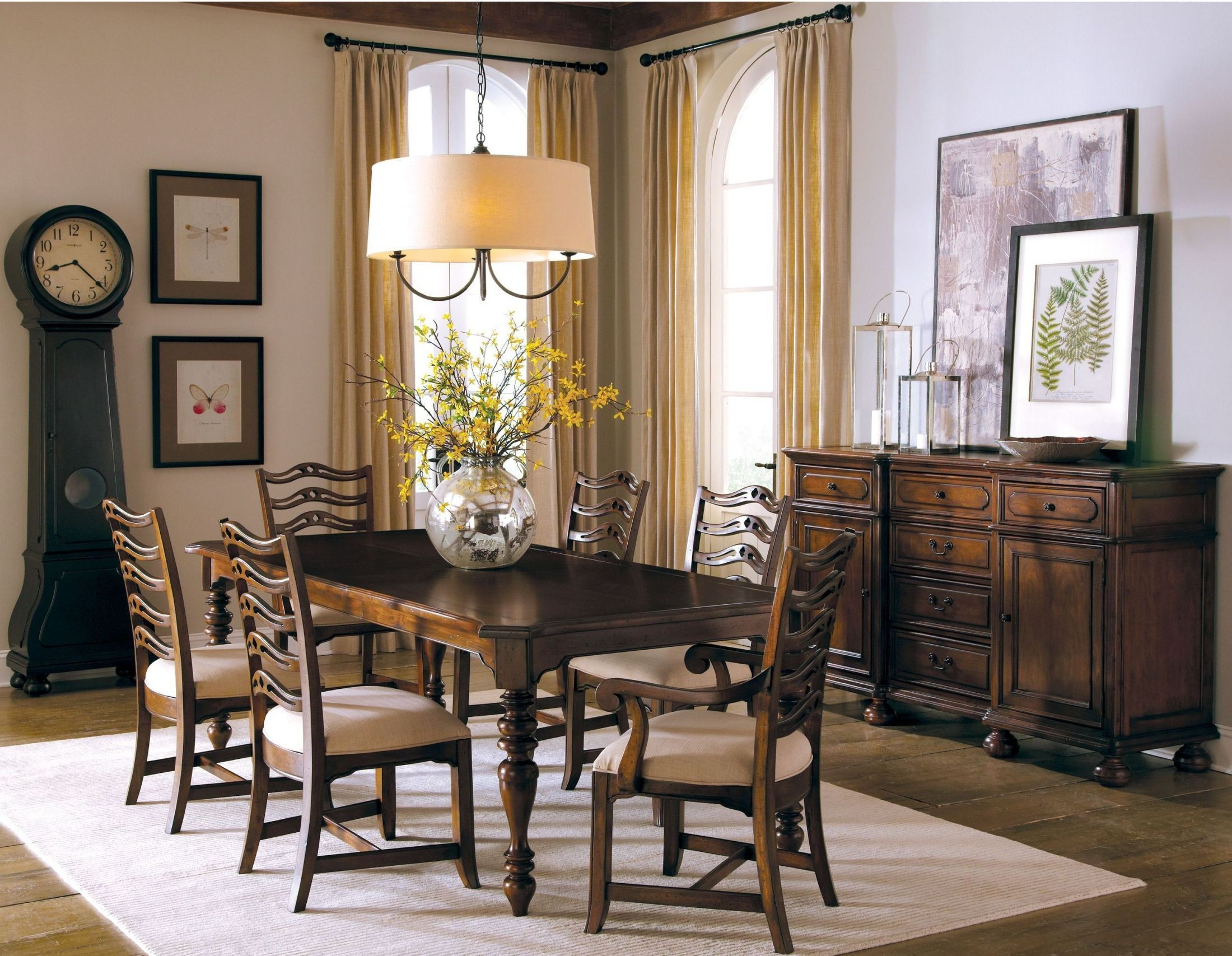 Vintage european brown rectangular dining room set from for Brown dining room set