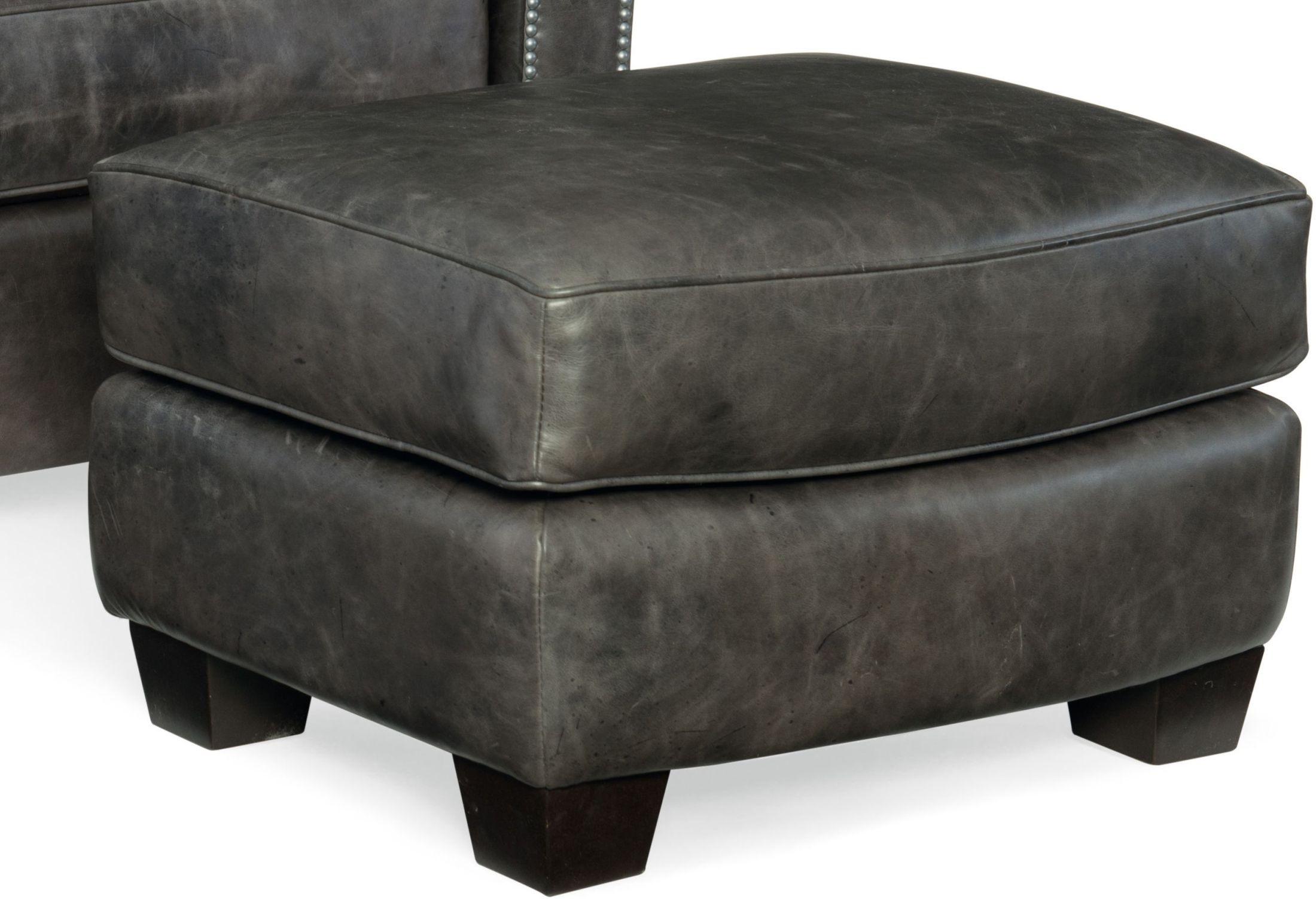 Trellis Gray Leather Ottoman, SS373-OT-096, Hooker Furniture