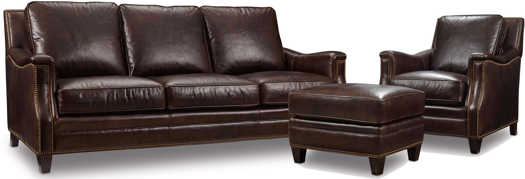 Bradshaw brown leather living room set from hooker for Brown leather living room set