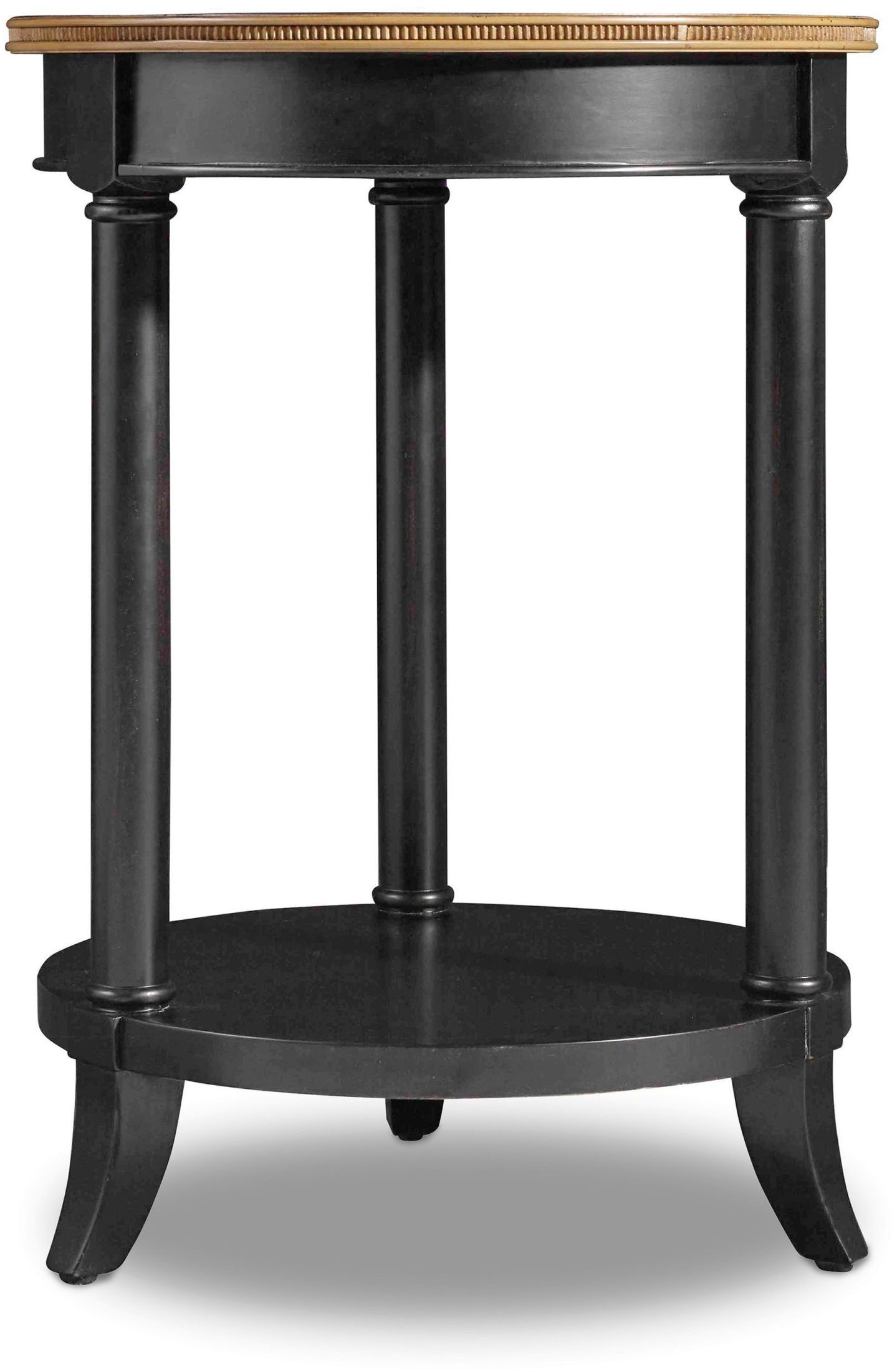 Ashton black round accent table from hooker coleman for Black round end table