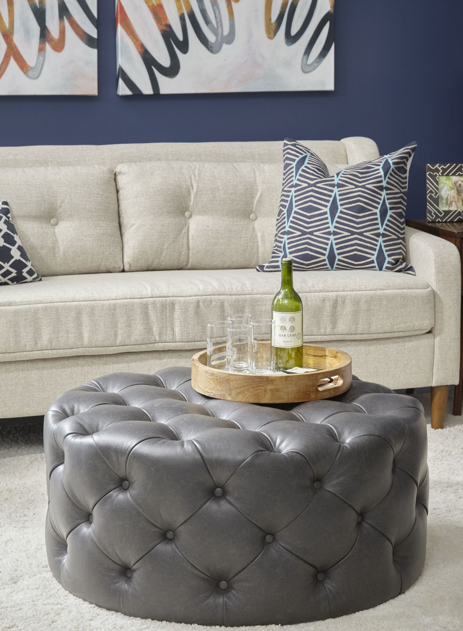 Lummus Steel Round Cocktail Ottoman With Casters From